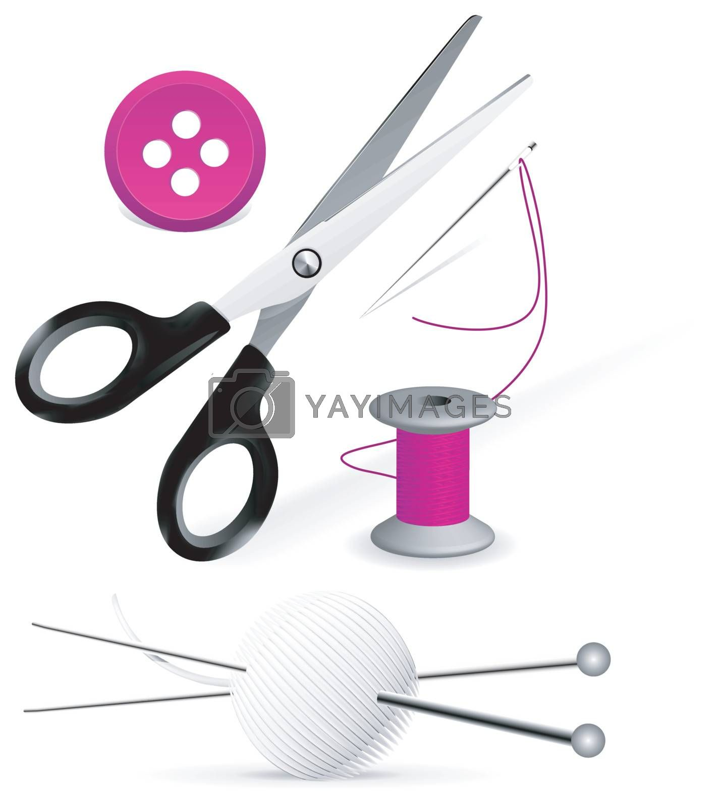 Items for knitting and sewing on white
