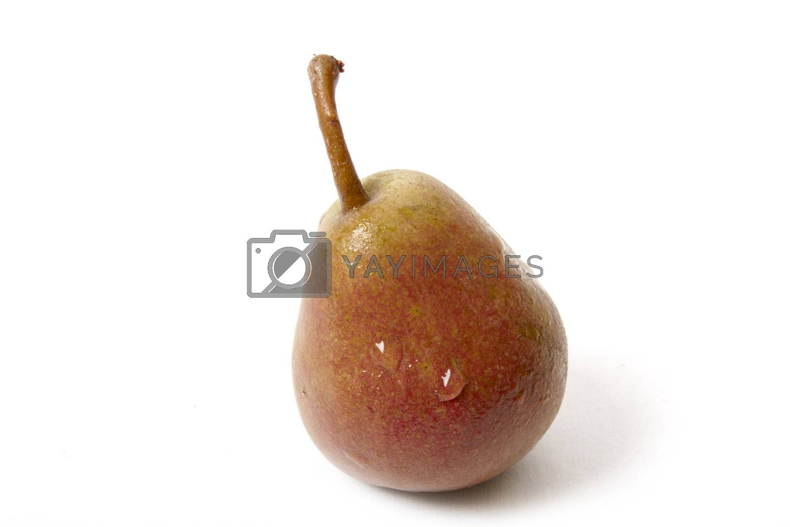 Pear in drops isolated on white background