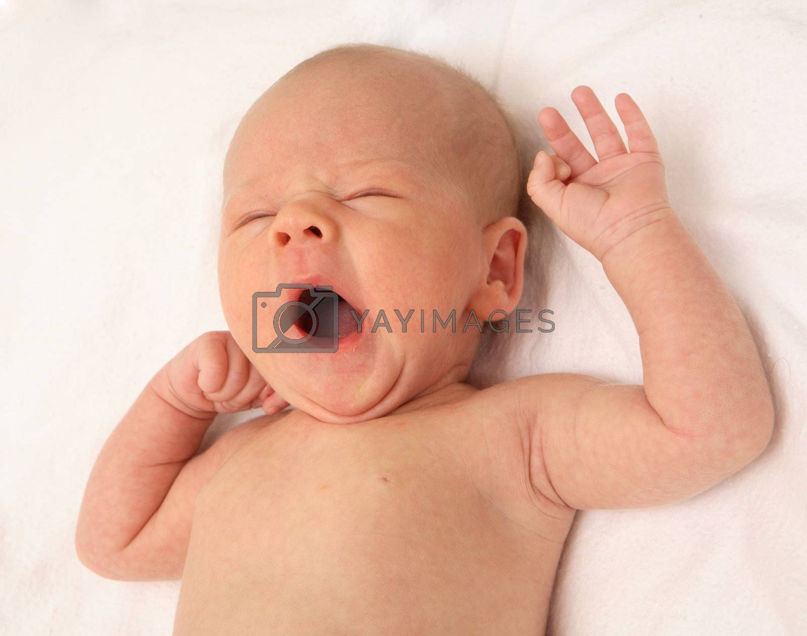 The baby yawns