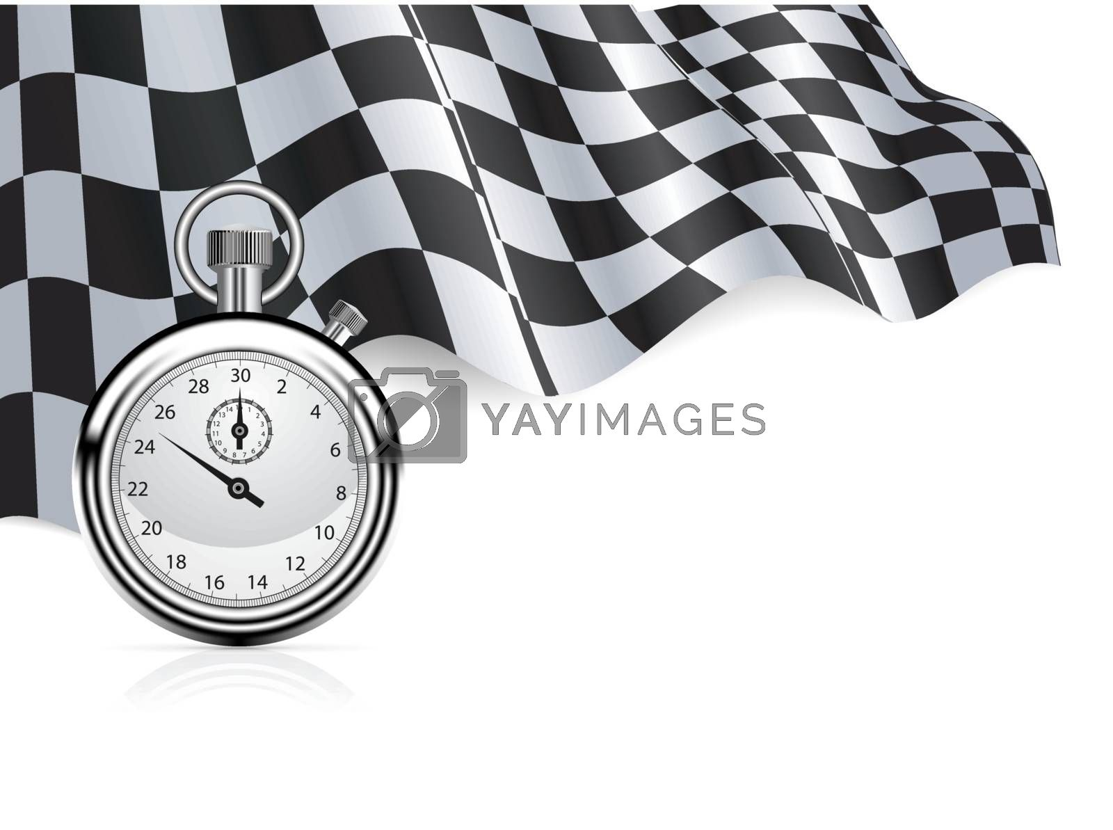 Checkered flag with a stopwatch background. Vector illustration