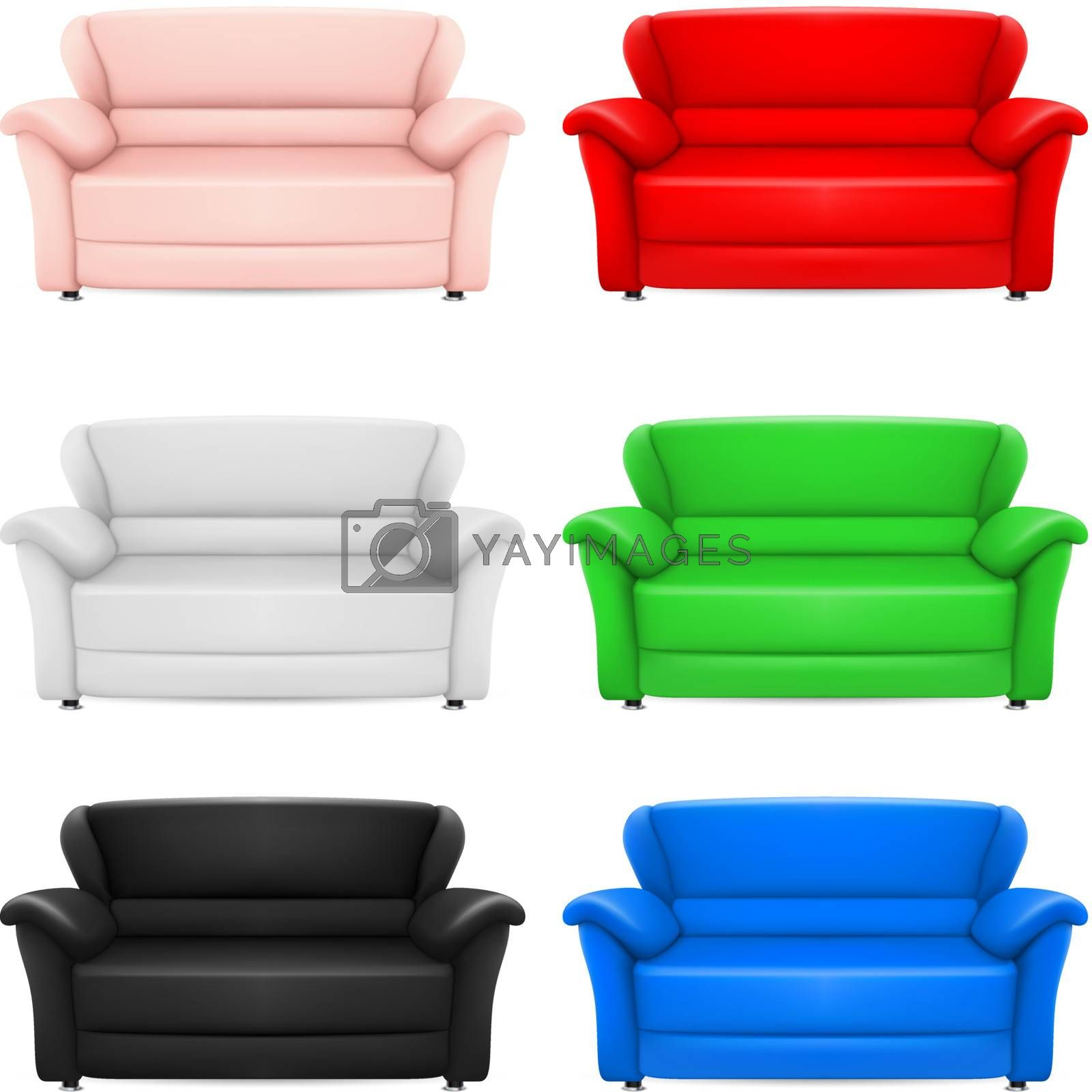 A set of multi-colored models of sofas. Illustration on white