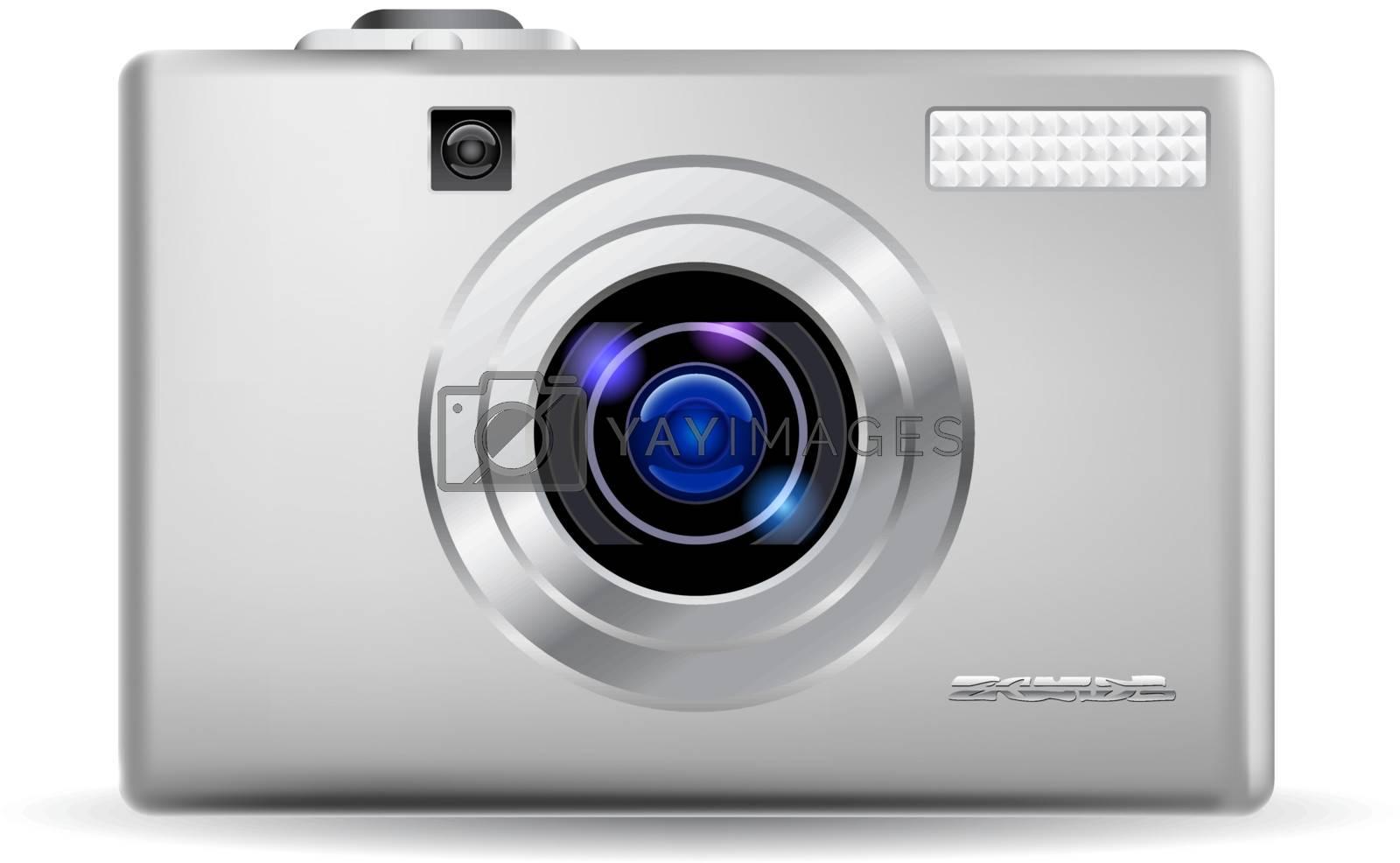 Simple digital camera. Illustration on white background