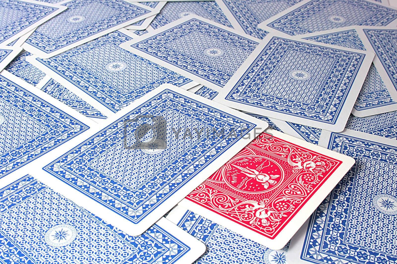 Underside playing cards with dark blue color.