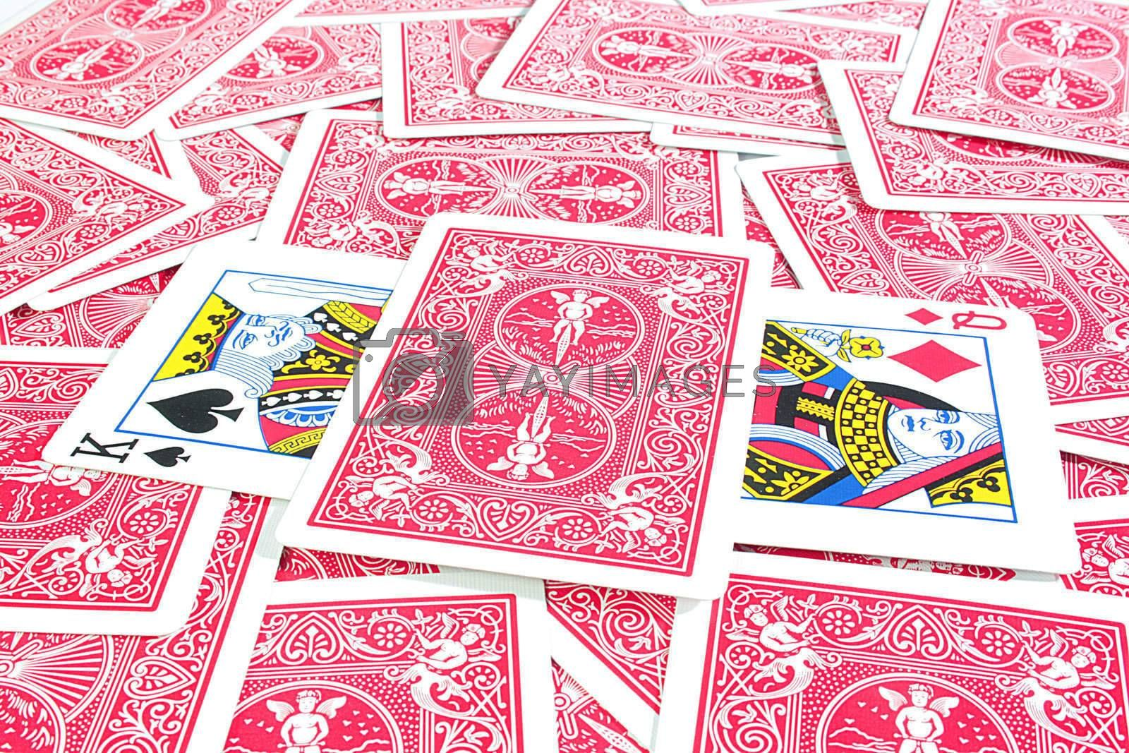 Underside playing cards with dark red color.