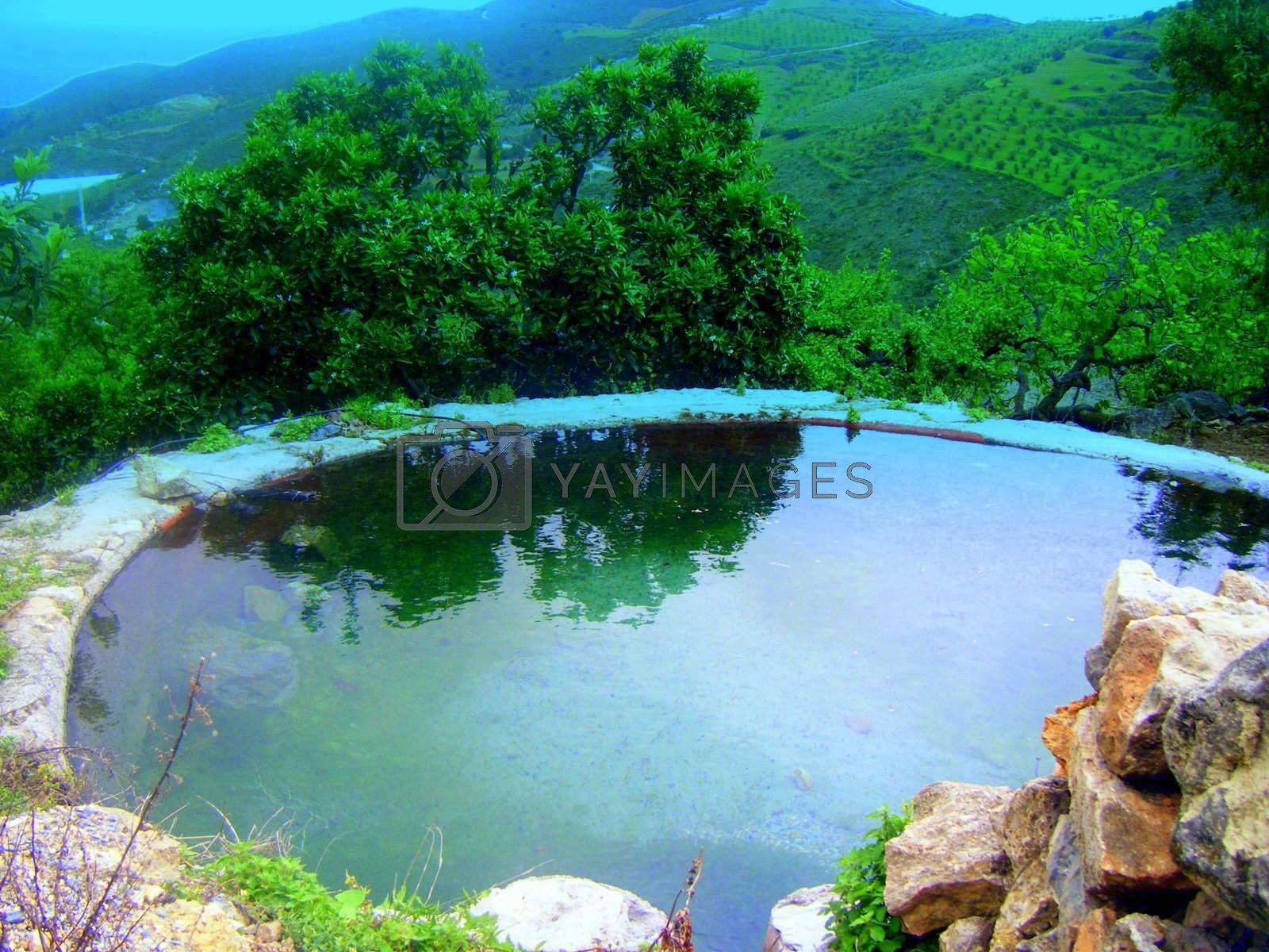A round pool reflecting orrange trees and the valley behind.agricultur.. andalucia arch background bright contrast countryside decorative design ecology environment fishermen fishing fresh idyll land landscape lifestyle outdoor perspective picturesque postcard recreation relax rural season seasonal sightseeing space spain spanish sunset texture tourism tradicional travel travell vacation vibrant vilage vivid walkway weather