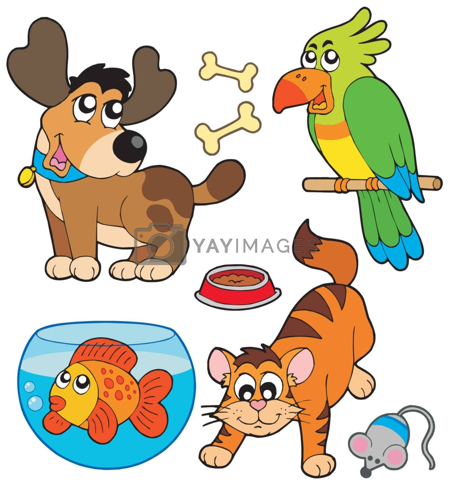 Cartoon pets collection - vector illustration.