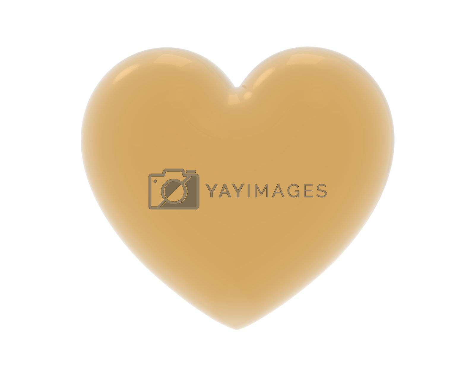 Golden heart isolated on white background, render