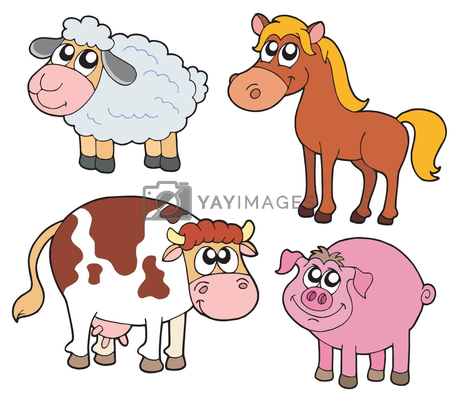 Farm animals collection - vector illustration.