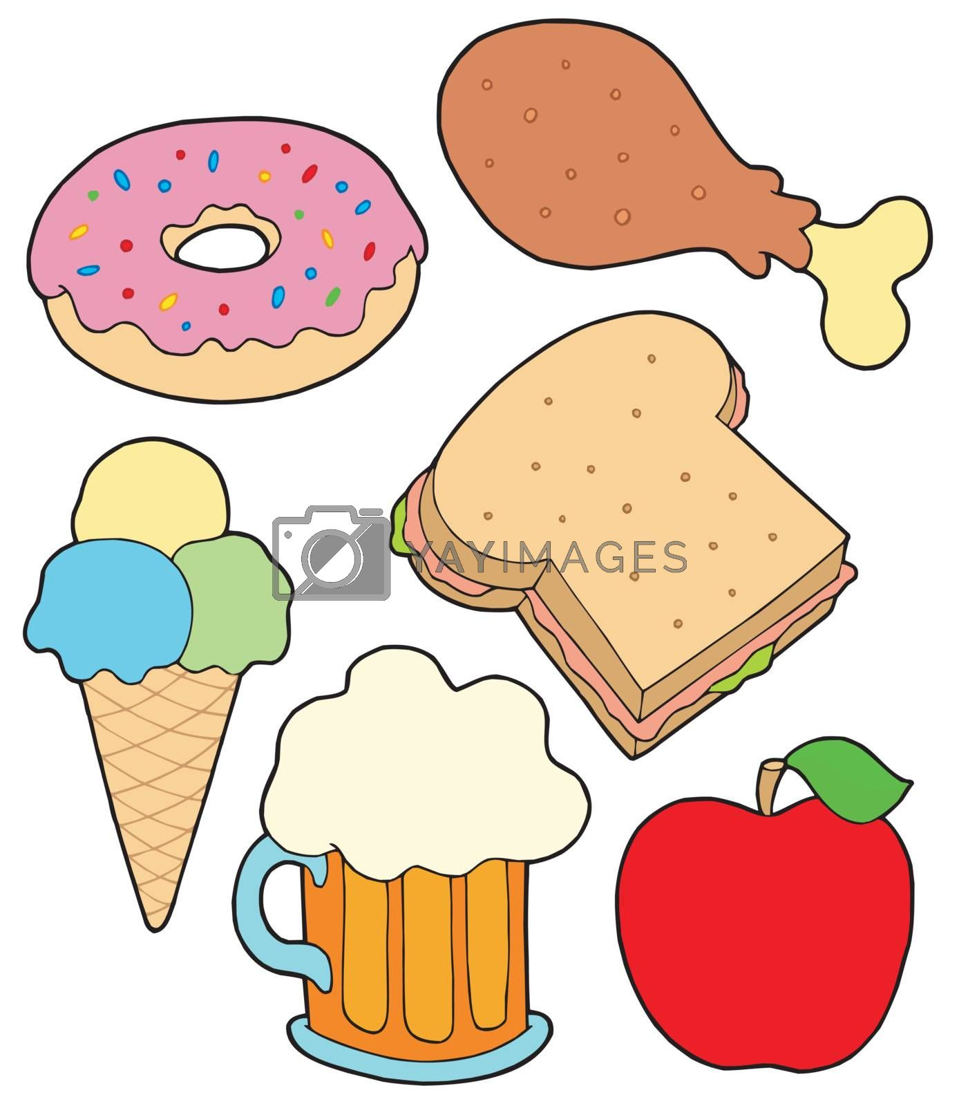Food collection 2 on white background - vector illustration.