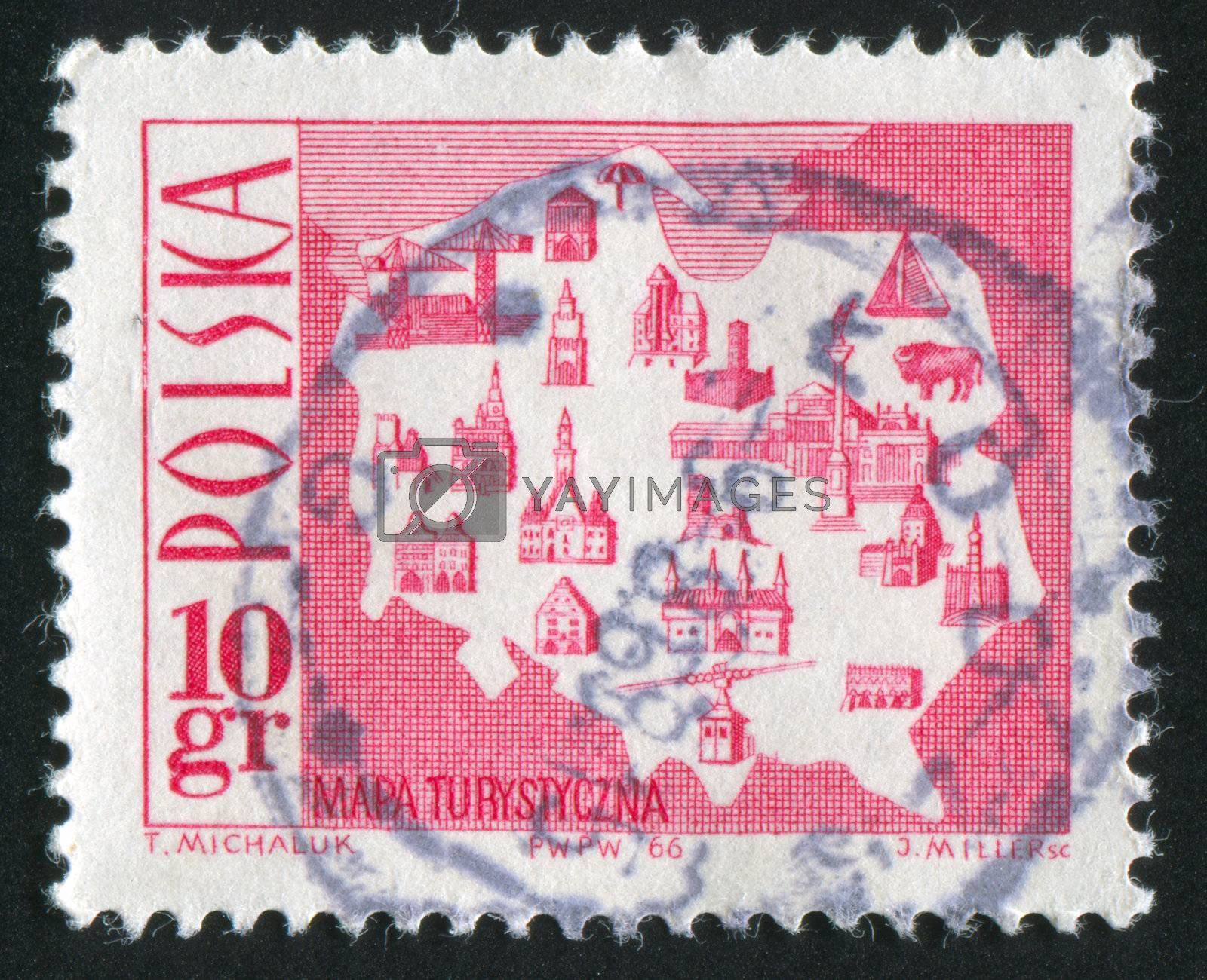 POLAND - CIRCA 1966: stamp printed by Poland, shows Map Showing Tourist Attractions, circa 1966
