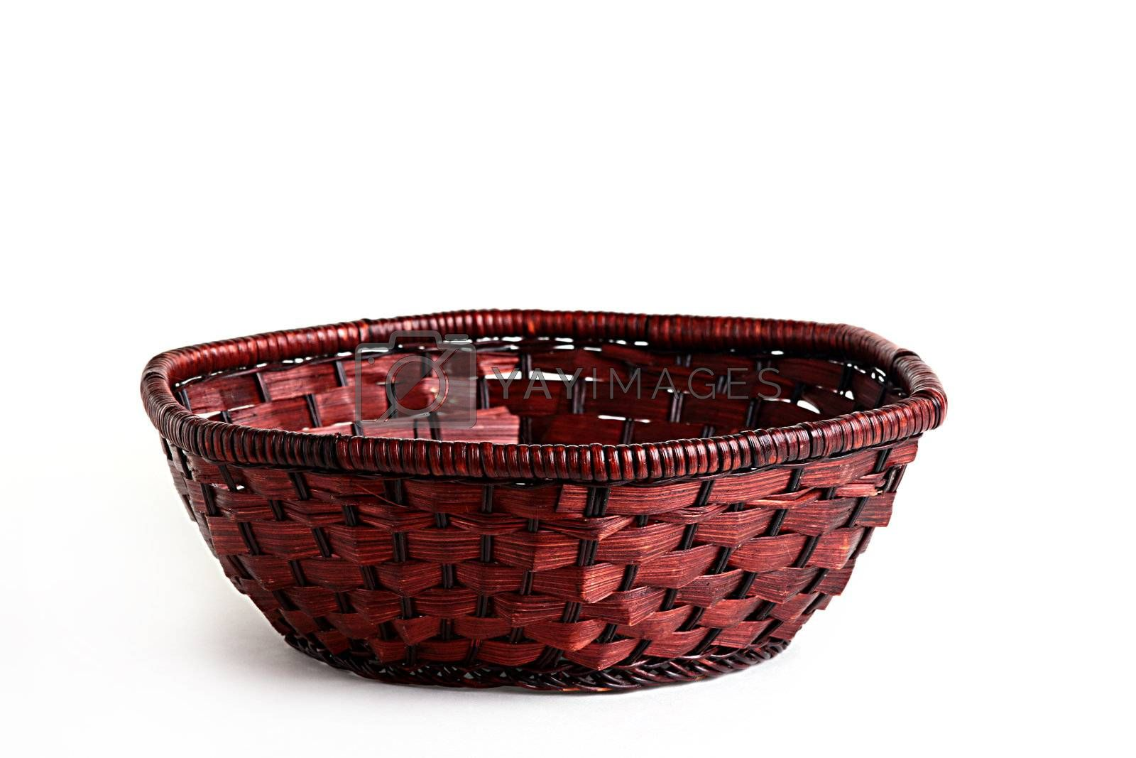 Basket weaved from rods for fruit and vegetables.