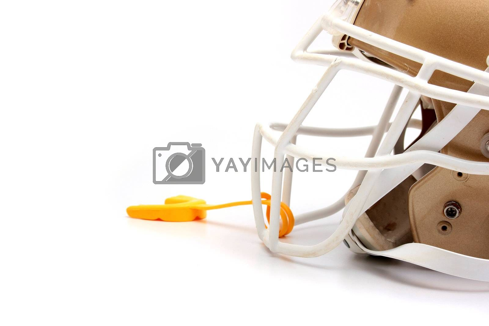Helmet for game in the American football with a mouthpiece.