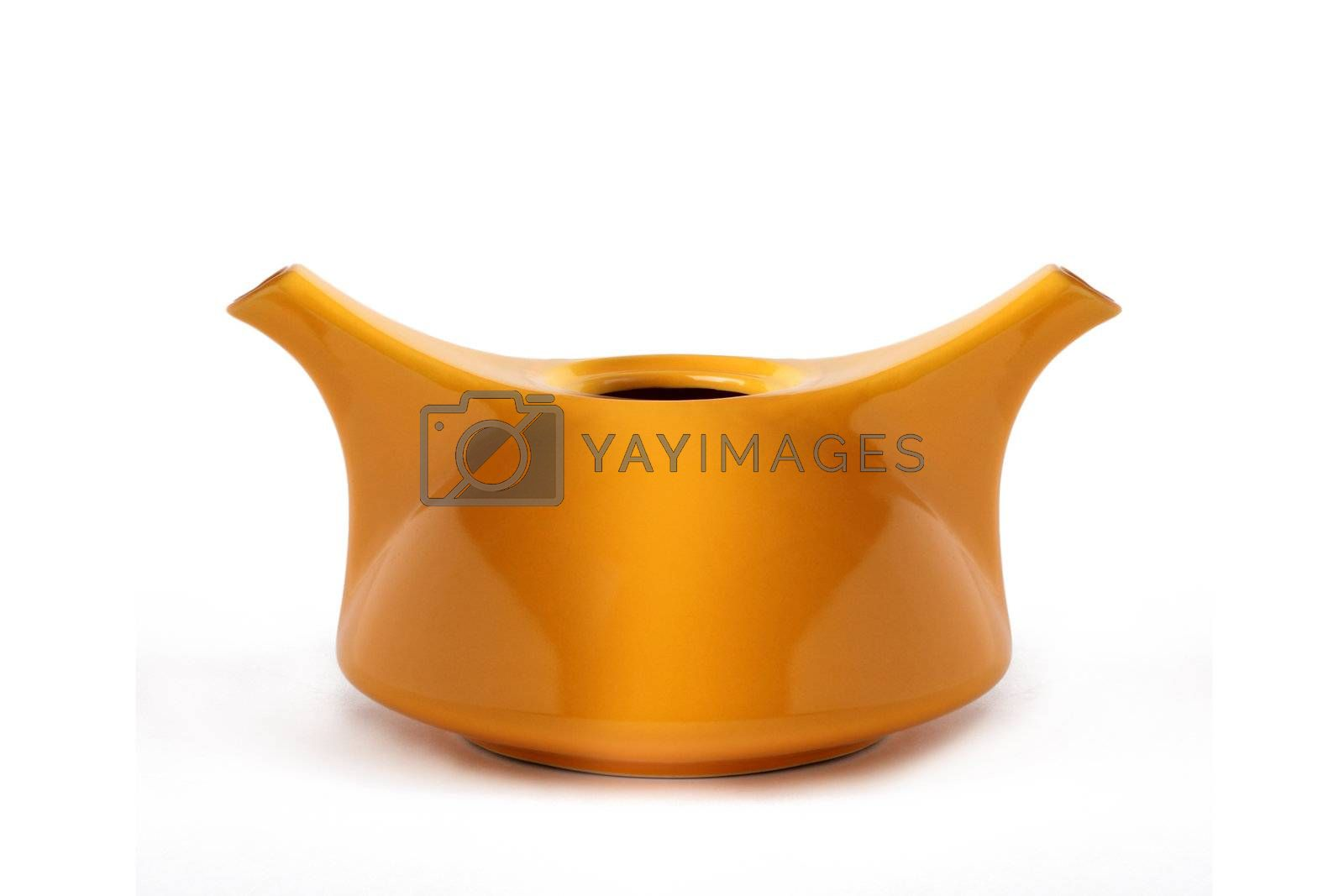Teapot with two nouses on a white background.