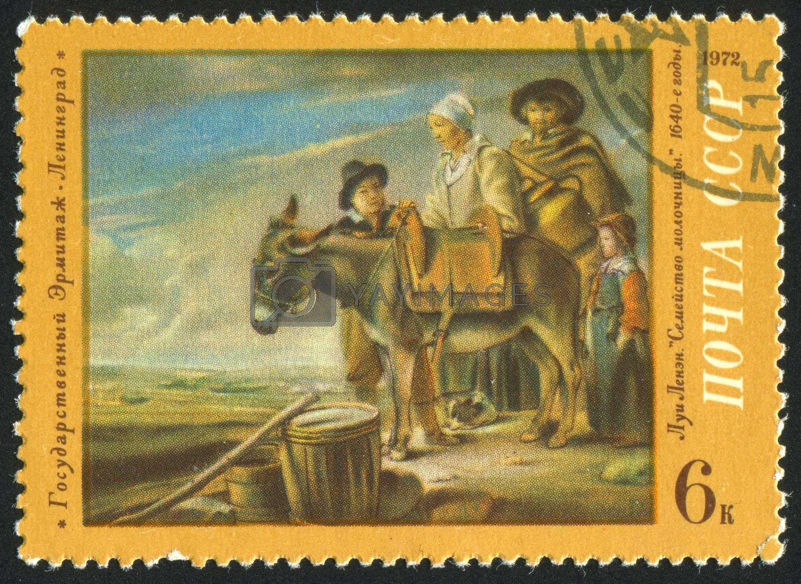 RUSSIA - CIRCA 1972: stamp printed by Russia, shows Milkmaid's Family, Louis Le Nain, circa 1972