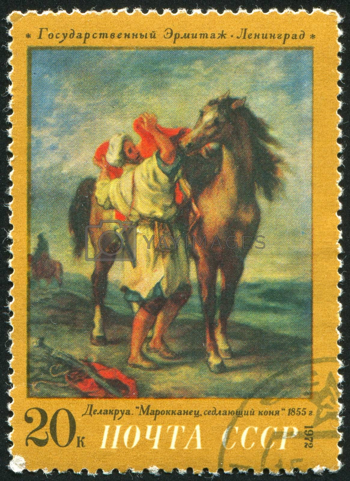 RUSSIA - CIRCA 1972: stamp printed by Russia, shows Moroccan Saddling Steed, Delacroix, circa 1972