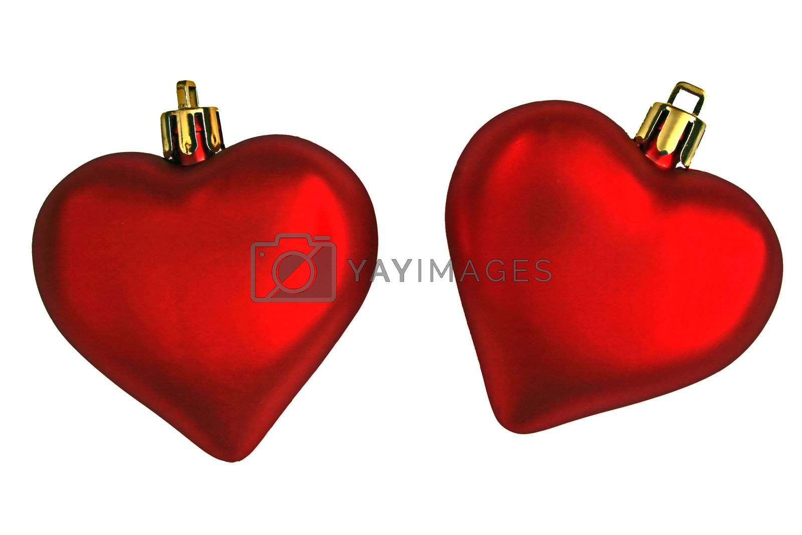 Two bright red Valentines Day hearts