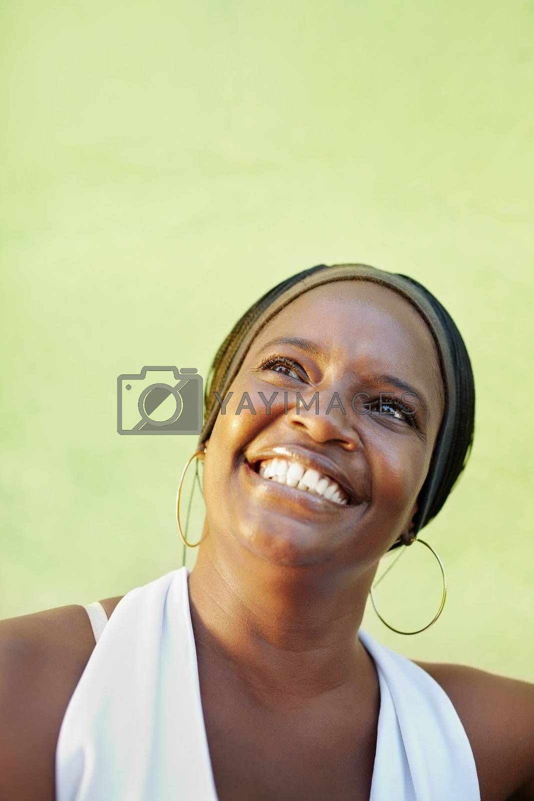 black woman with white shirt smiling  by diego_cervo
