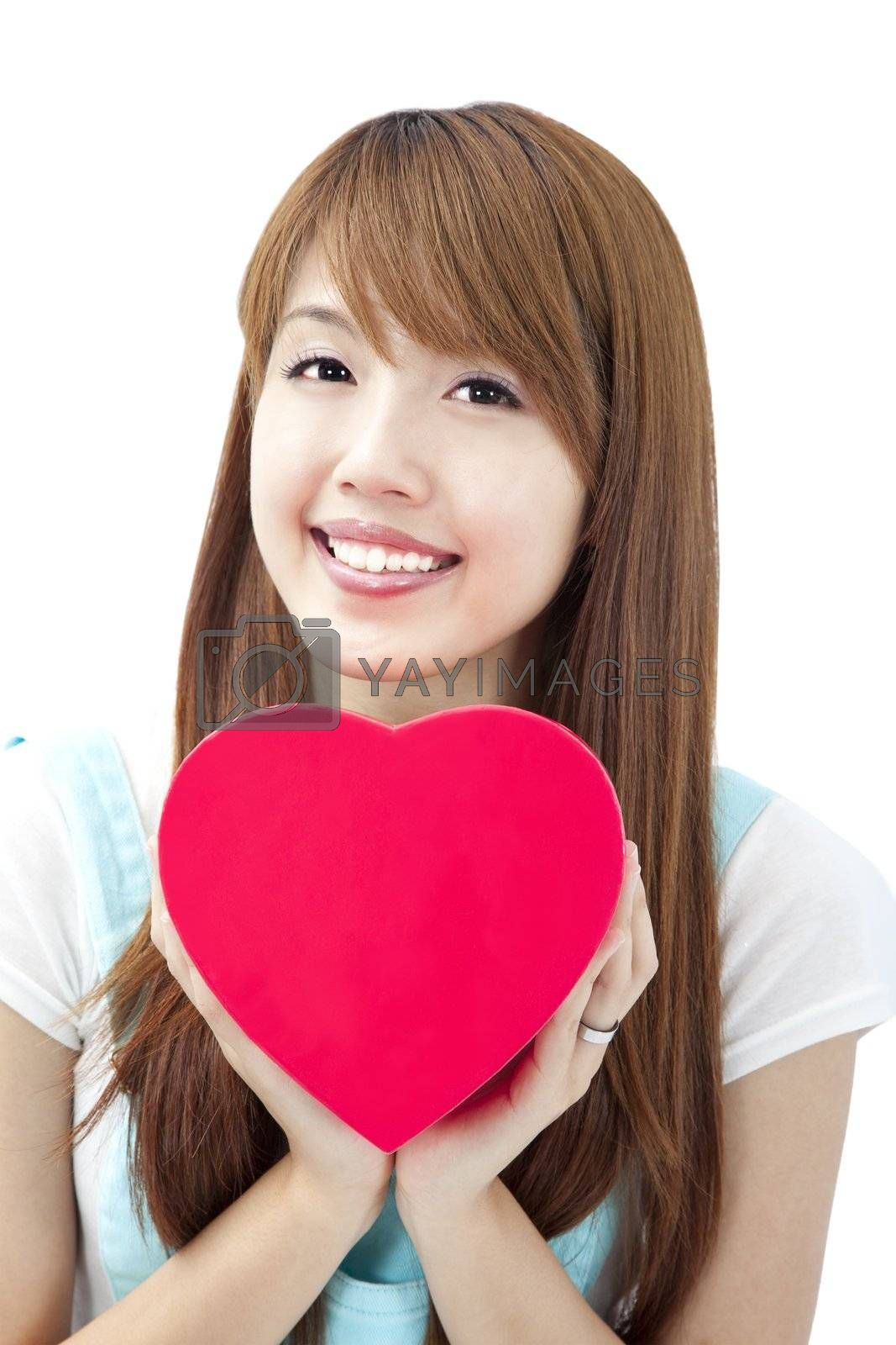 lovely young woman  holding red heart gift box