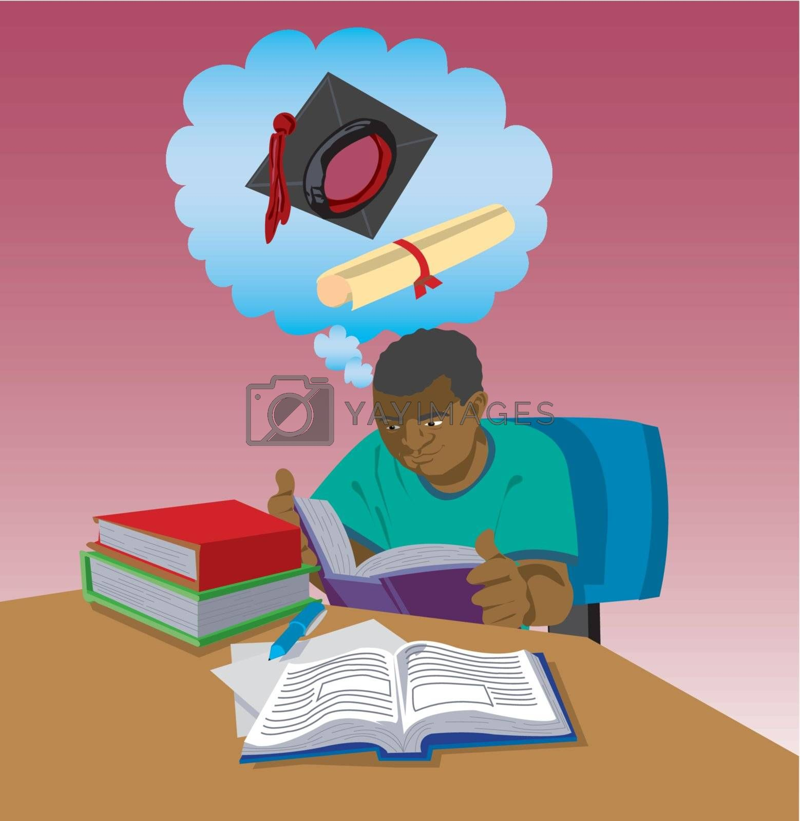 Student studying textbooks with the goal of graduation from school or university. Linear gradients are included. Created from an original drawing. Vector file items are grouped and layered for easy editing.