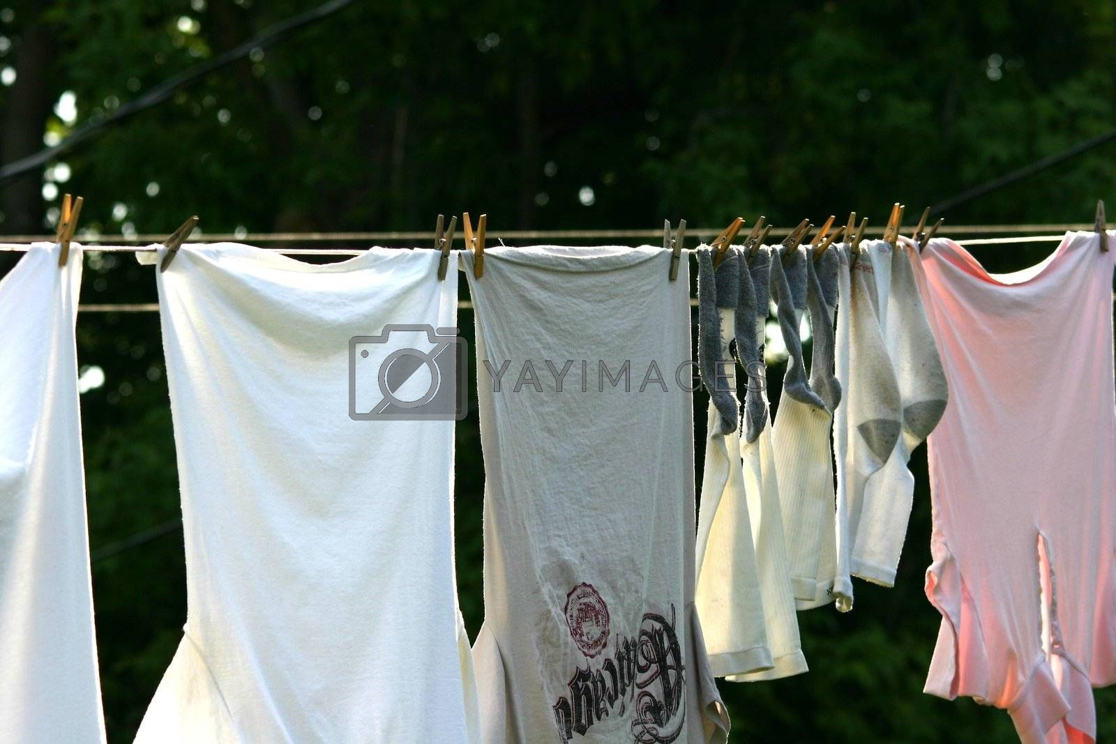 Clothes hanging outside to dry in the sun