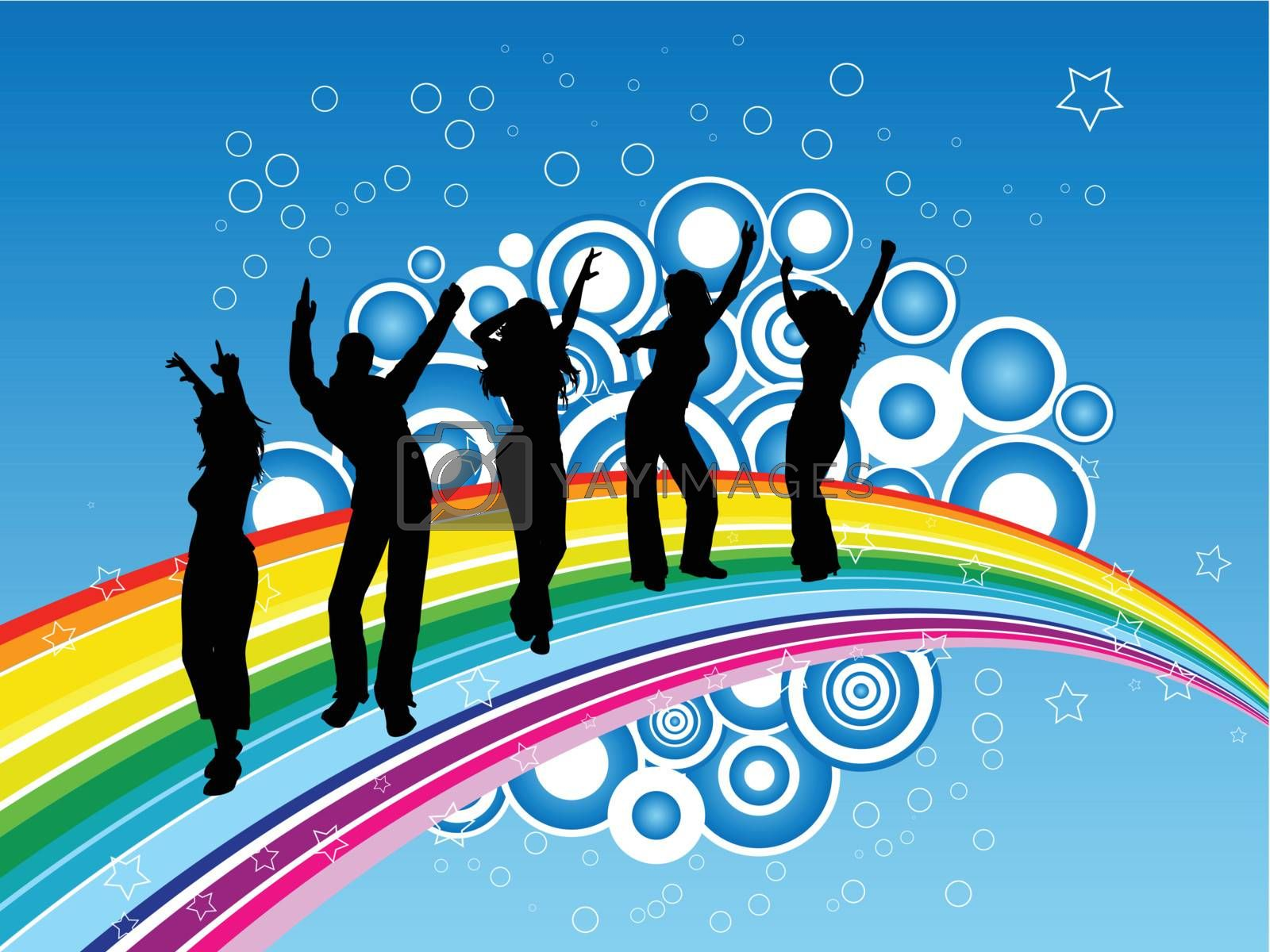 silhouette of party dancing on rainbow