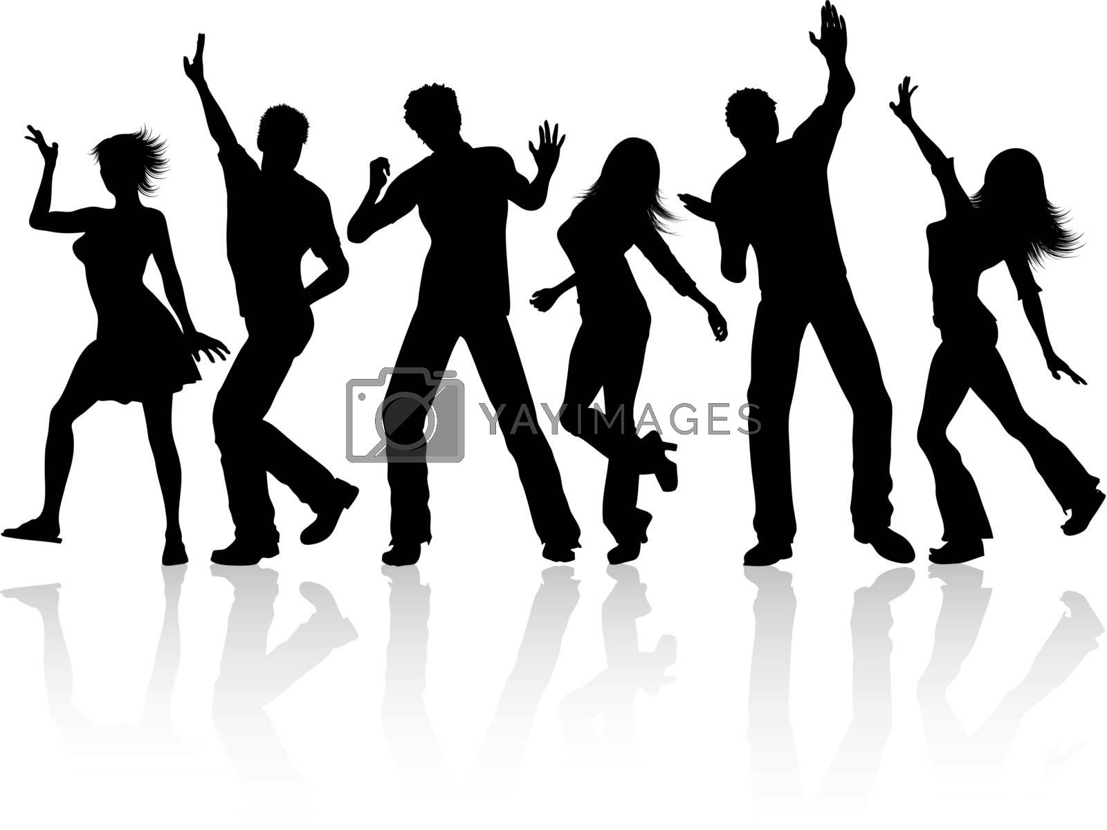 silhouettes of dancing people isolated in white