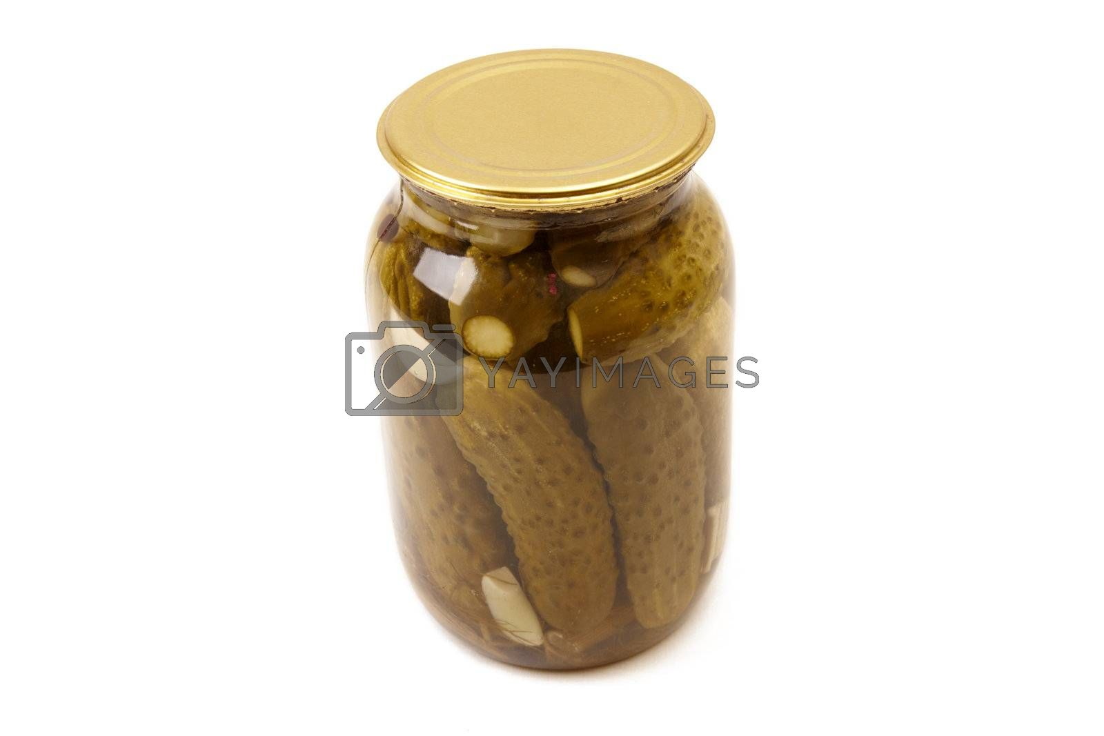 Tree clear glass jar of green pickled cucumbers. Isolated image