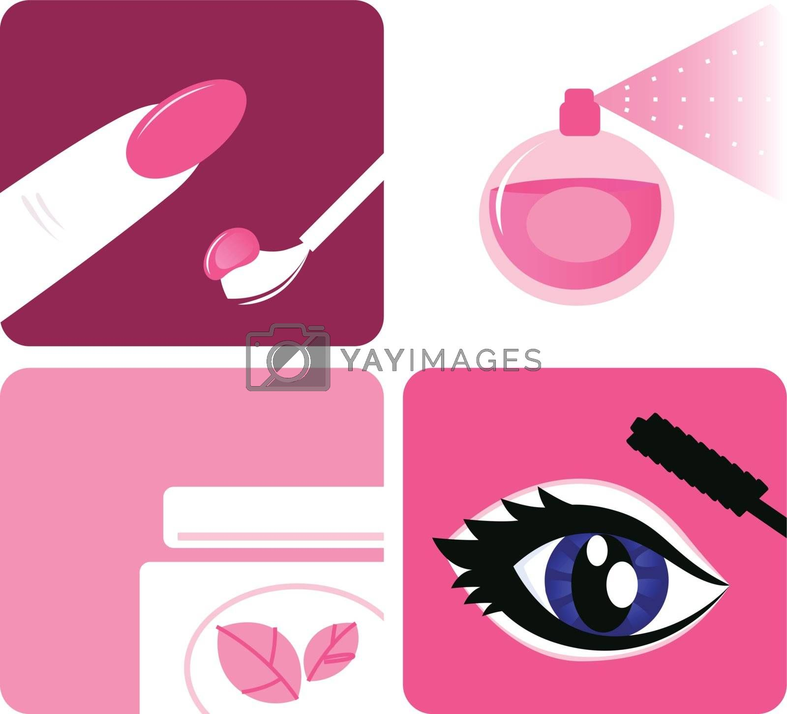 Beauty, cosmetic and makeup icons isolated on white by Lordalea