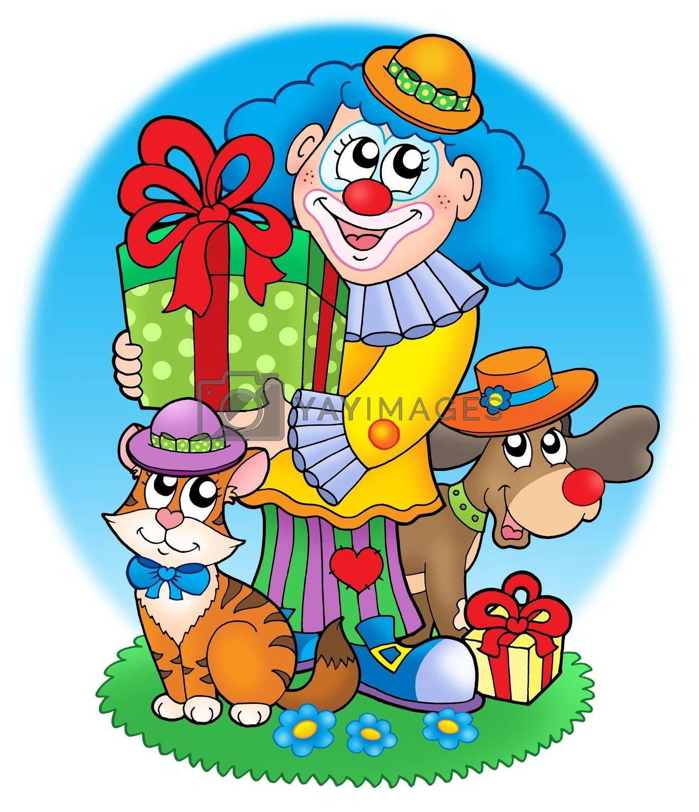 Circus clown with pets - color illustration.