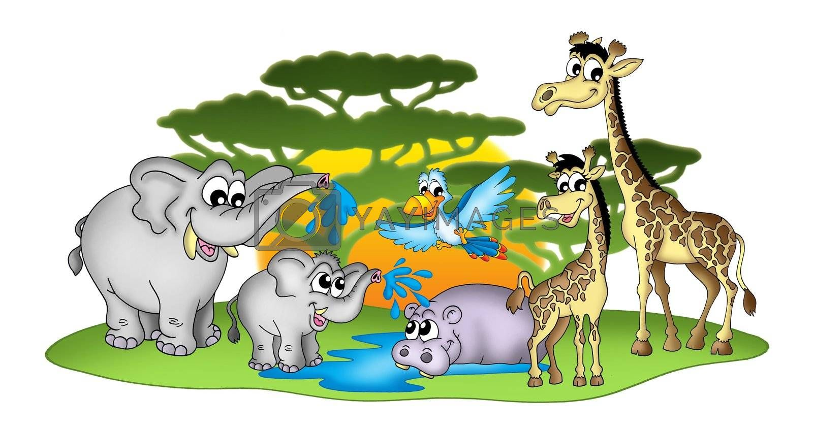 Group of African animal - color illustration.