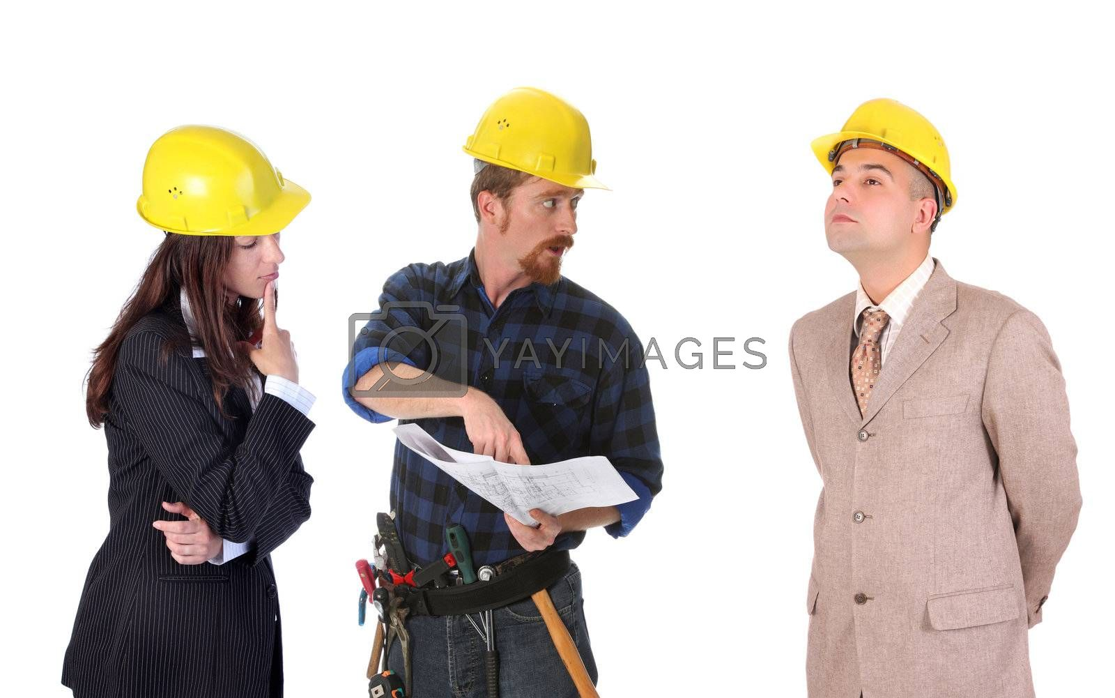 business team talk with architectural plans on white background