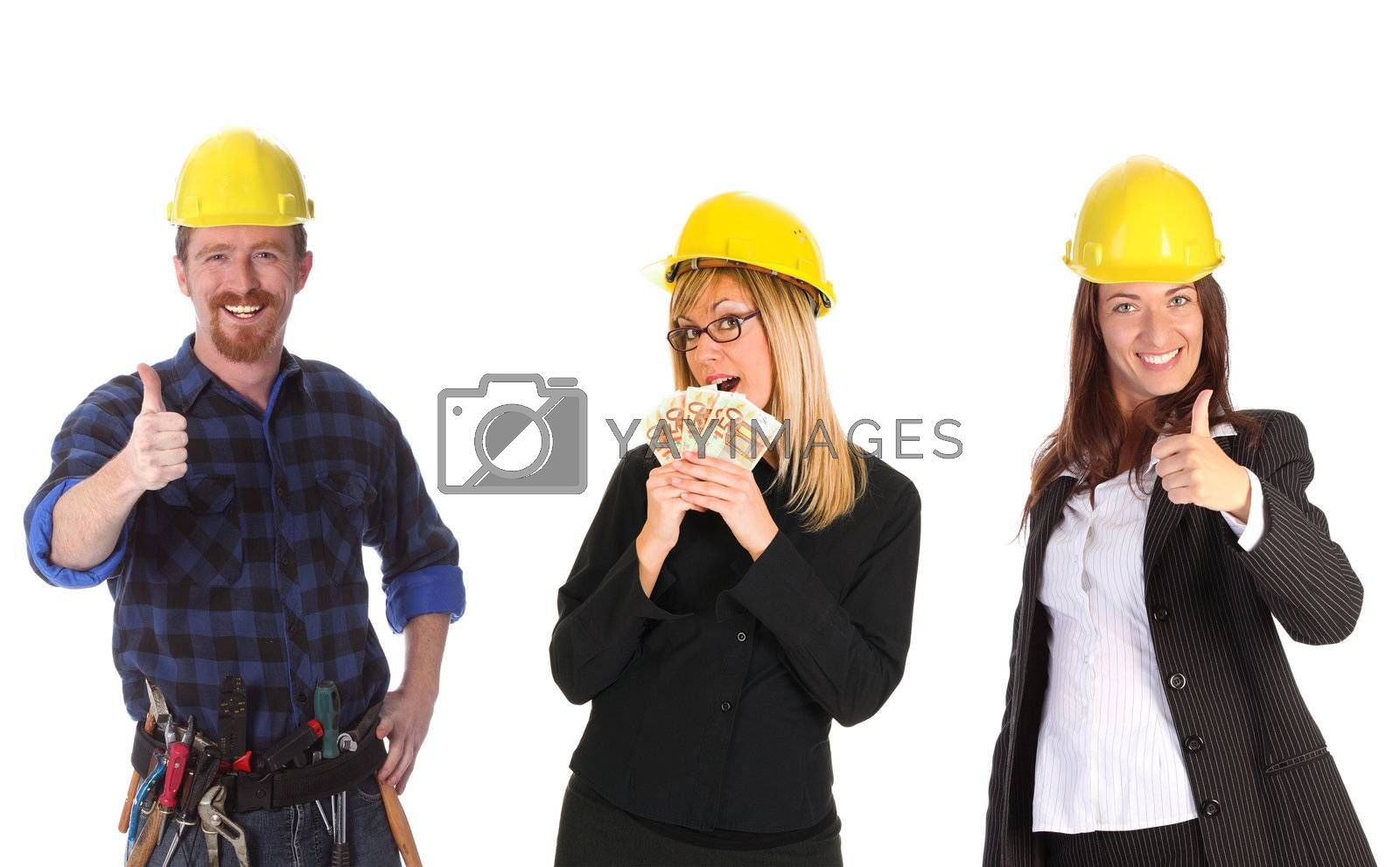 businesswoman with cash and colleague on white background