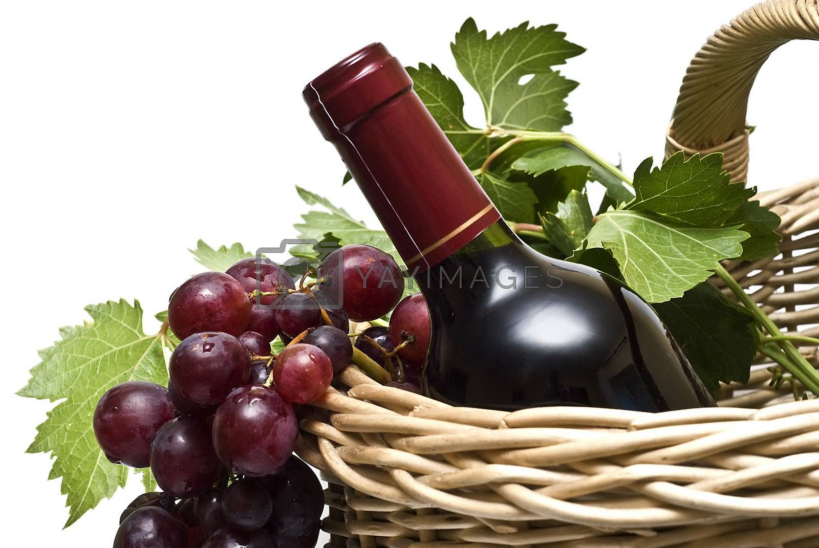 Still life abour red wine with a white background.