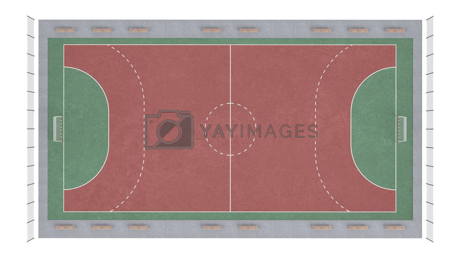 Football pitch isolated on white background