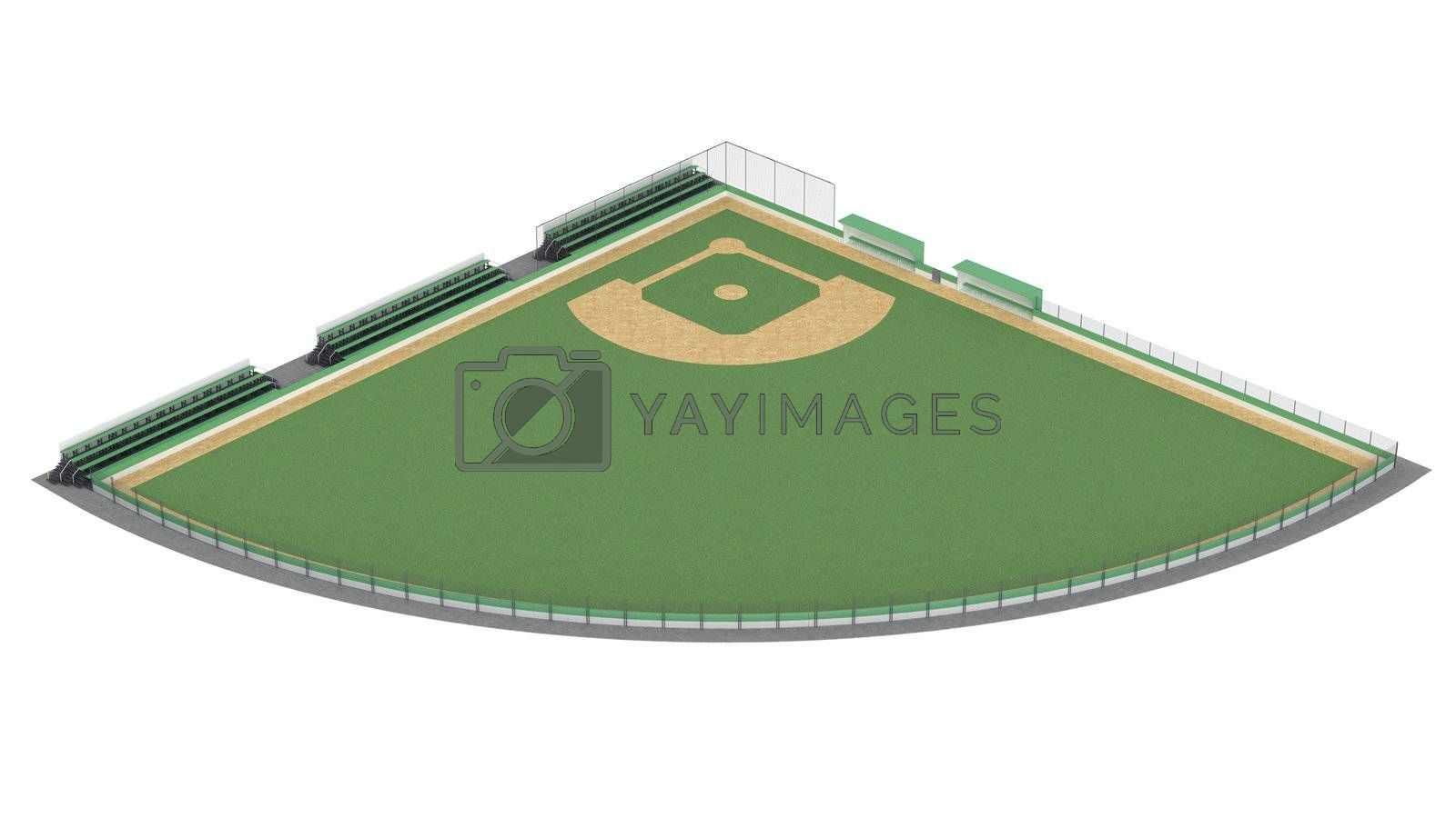 Baseball field isolated on white background