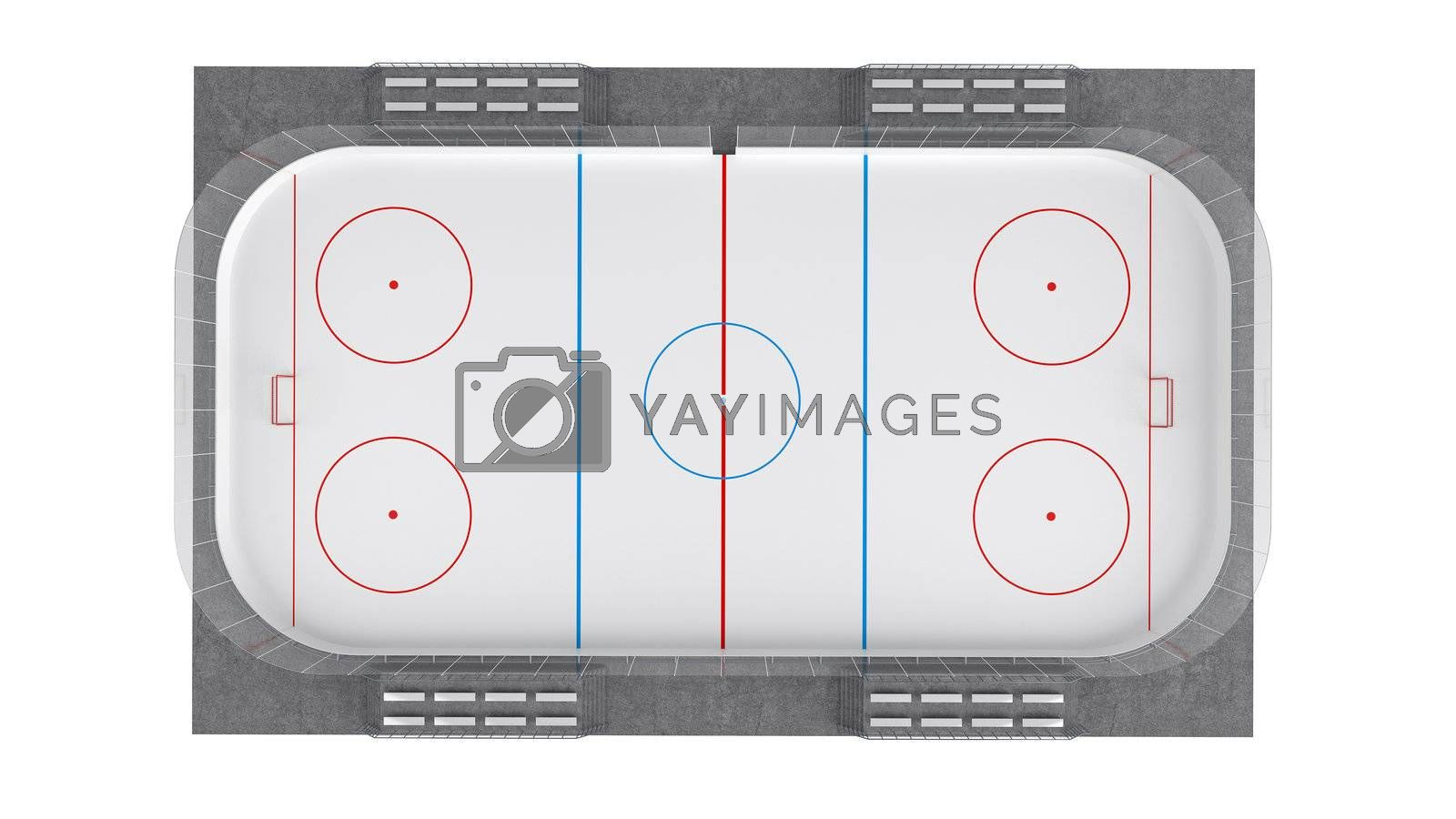 Hockey field isolated on white background