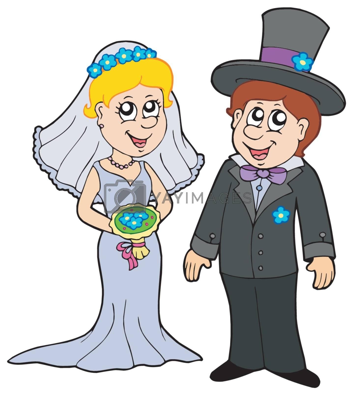 Wedding couple on white background - vector illustration.