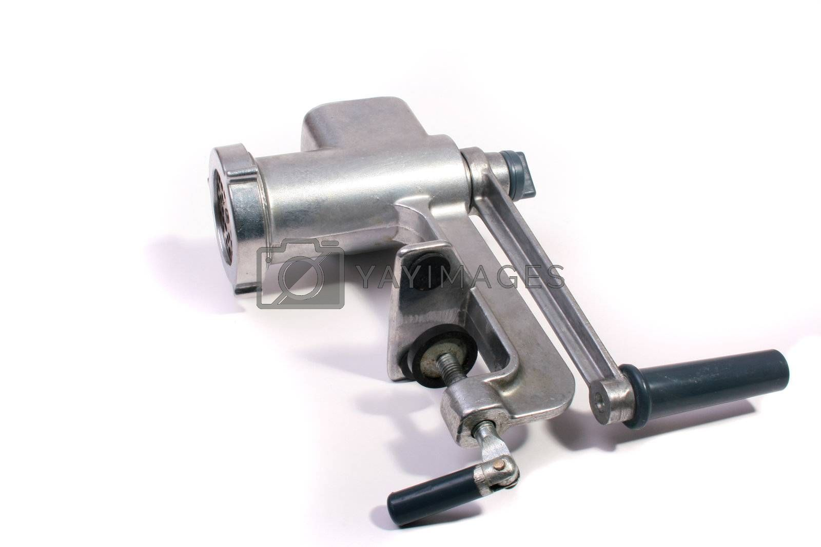 The disassembled meat grinder on a white background.