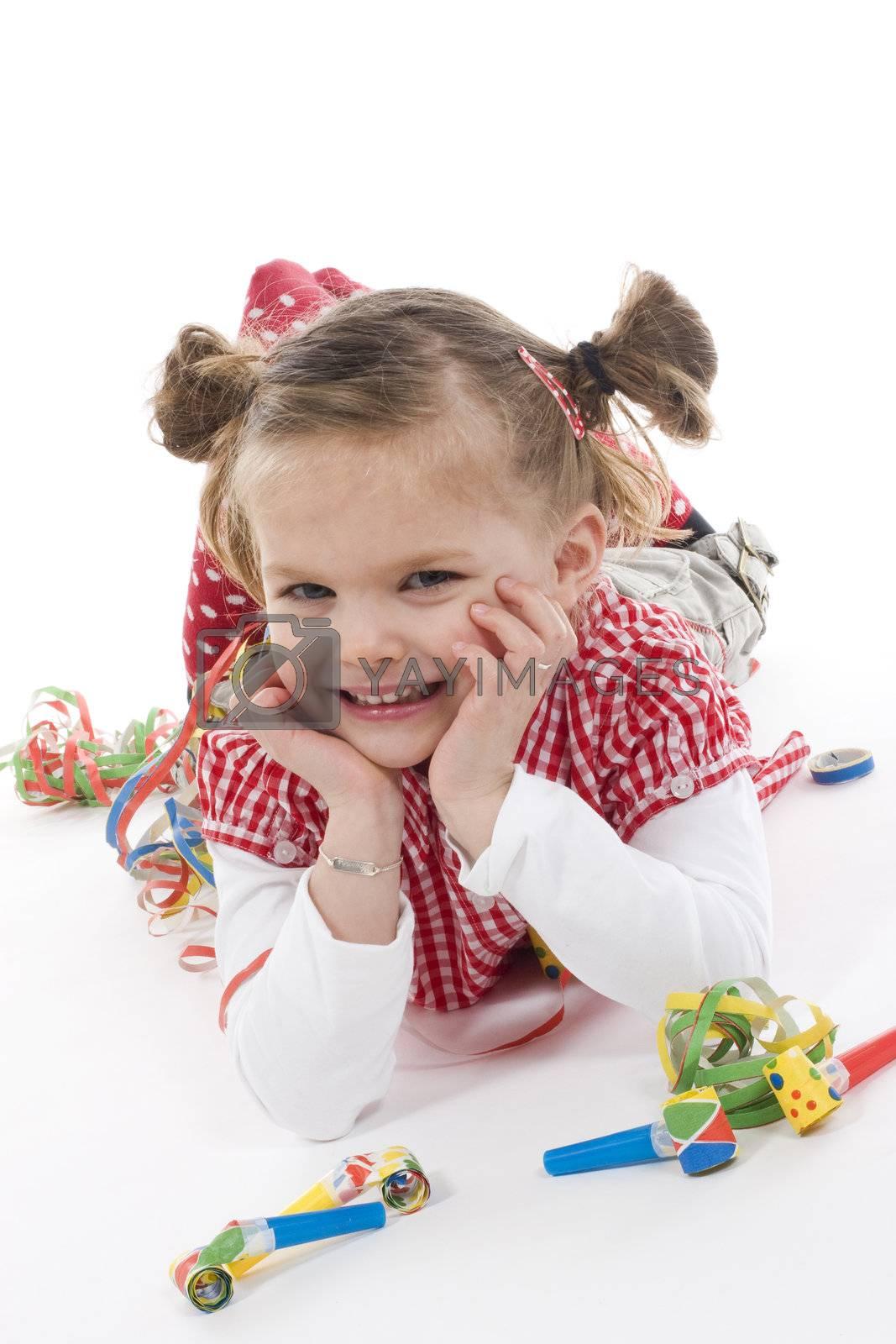 cute little girl having a party
