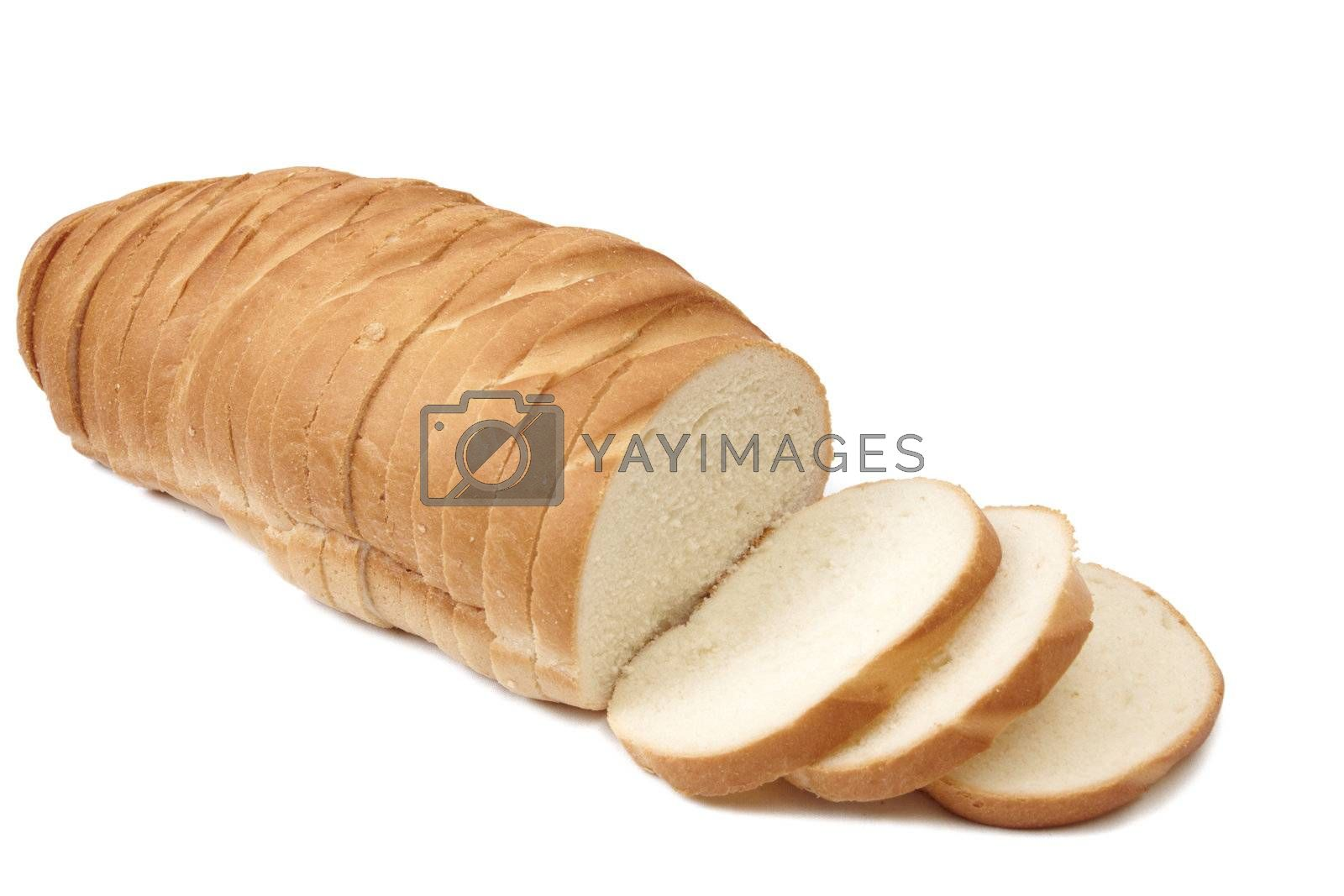 Sliced french bread isolated on white