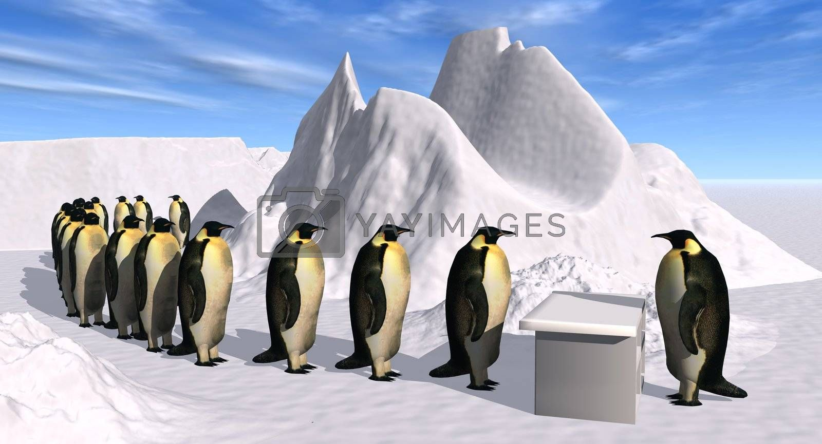 a 3D rendering showing the complaint department of the penguin company