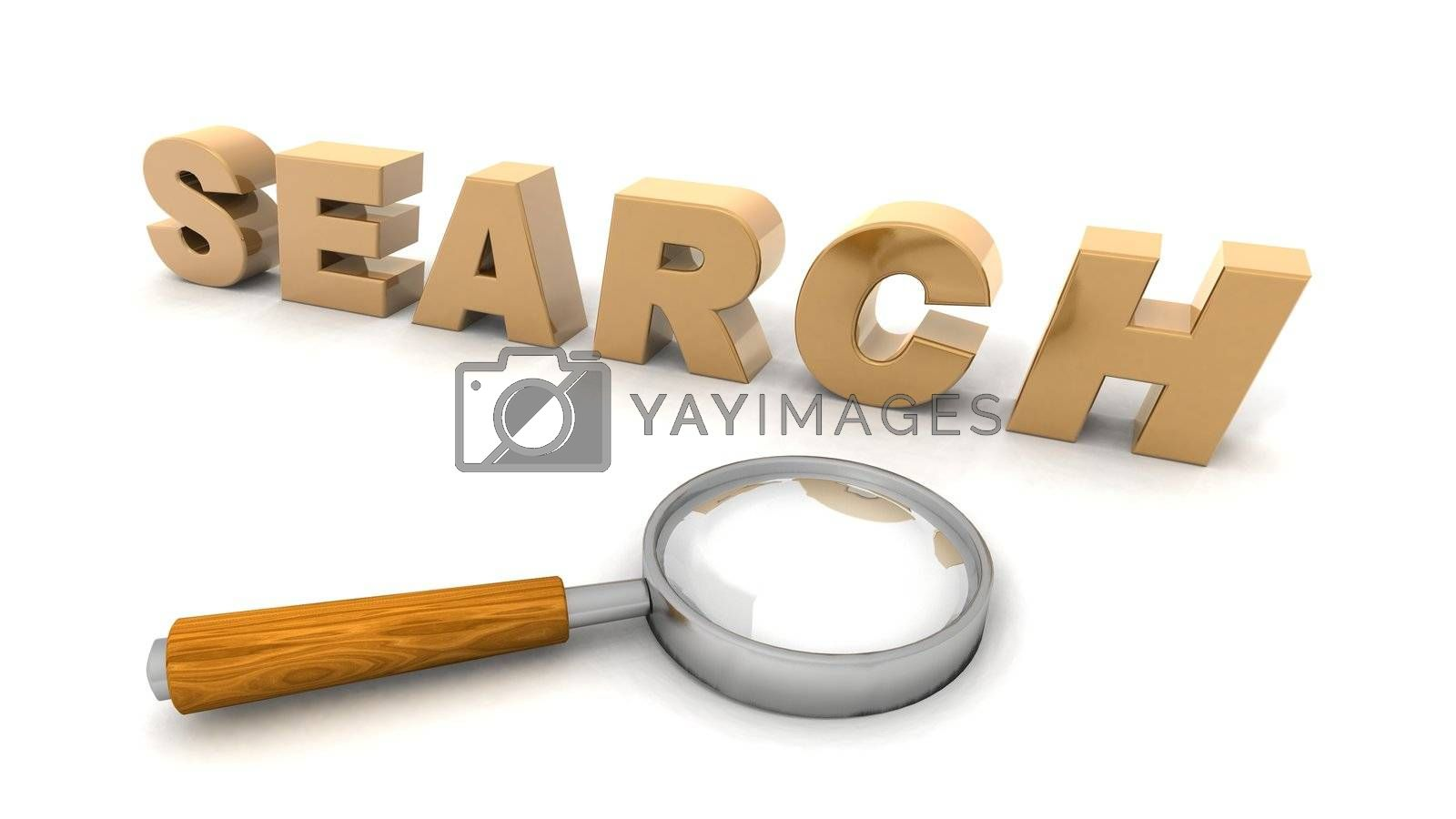 a 3D rendering of a magnifying glass to illustrate search action