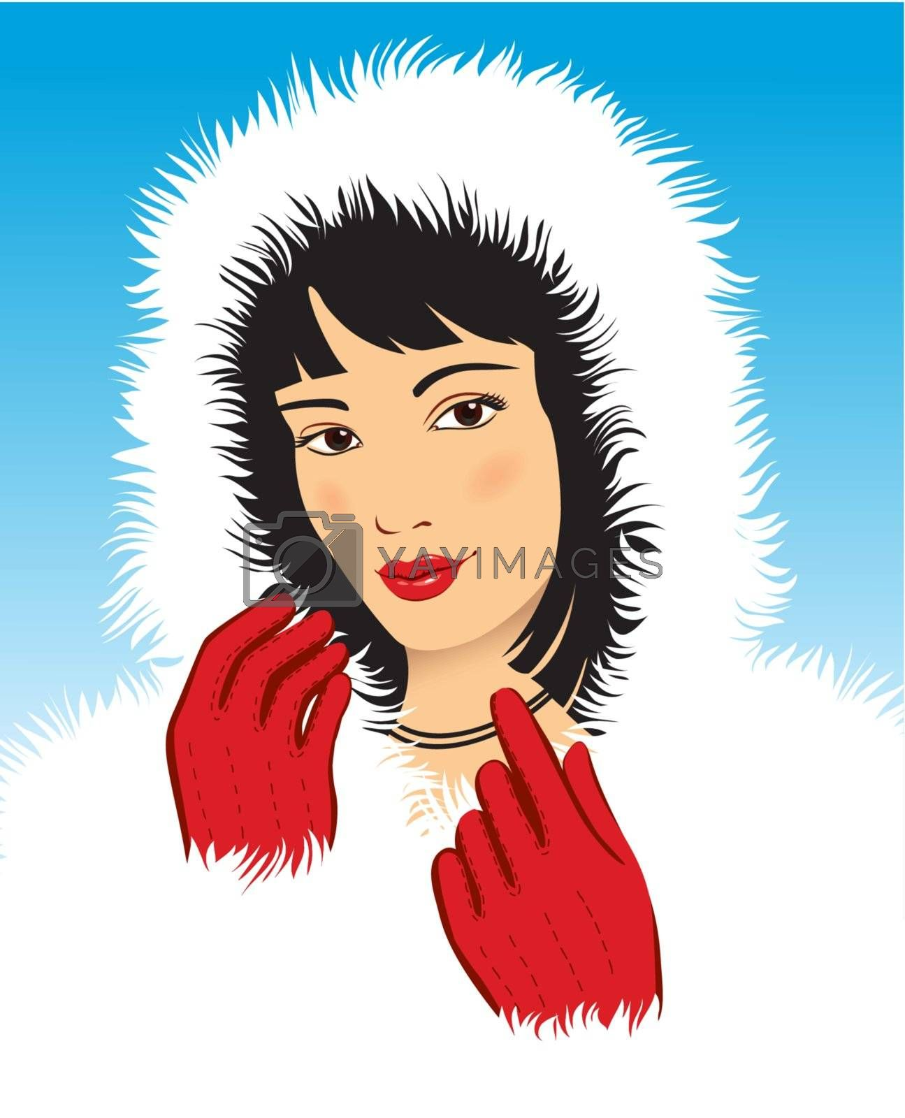 Young beautiful women dressed in fur coat
