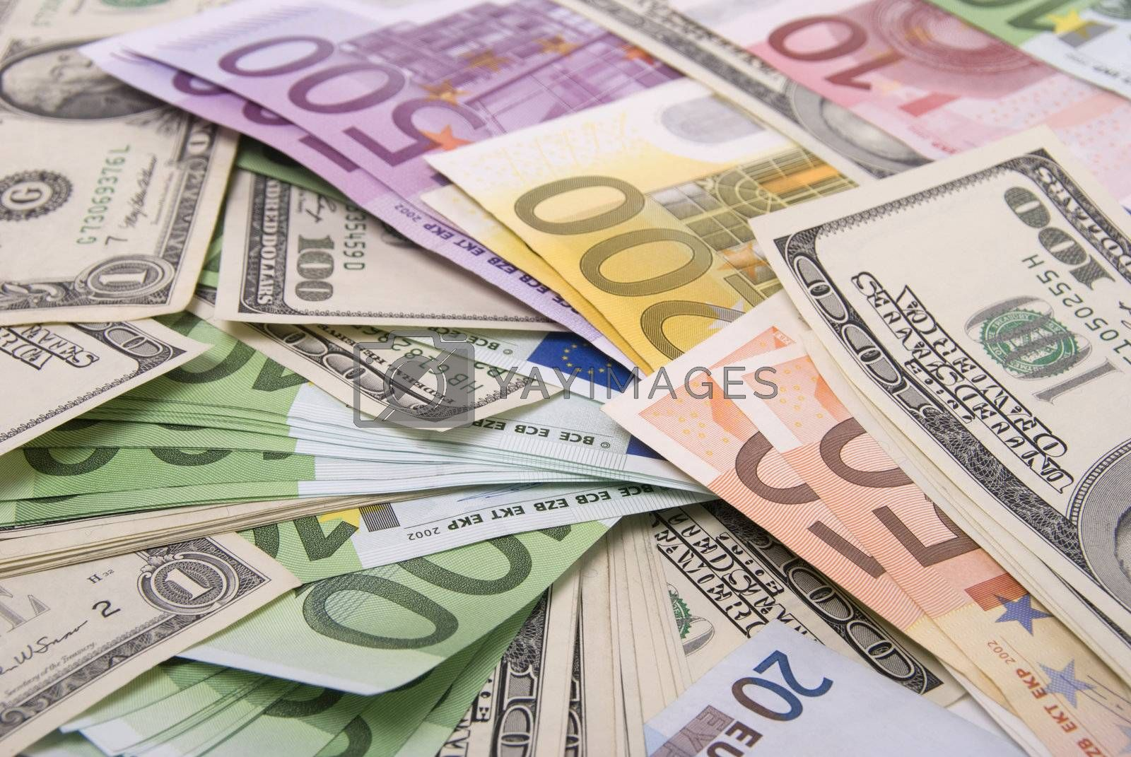 Various paper money euro and dollar banknotes