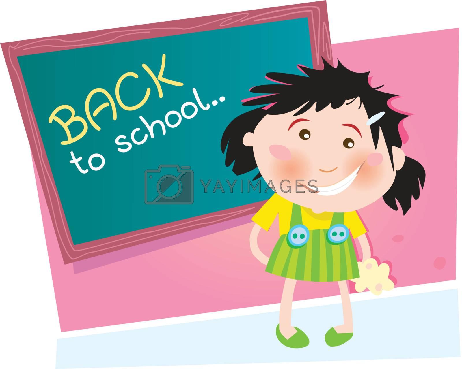 Small girl in the school. Vector Illustration.
