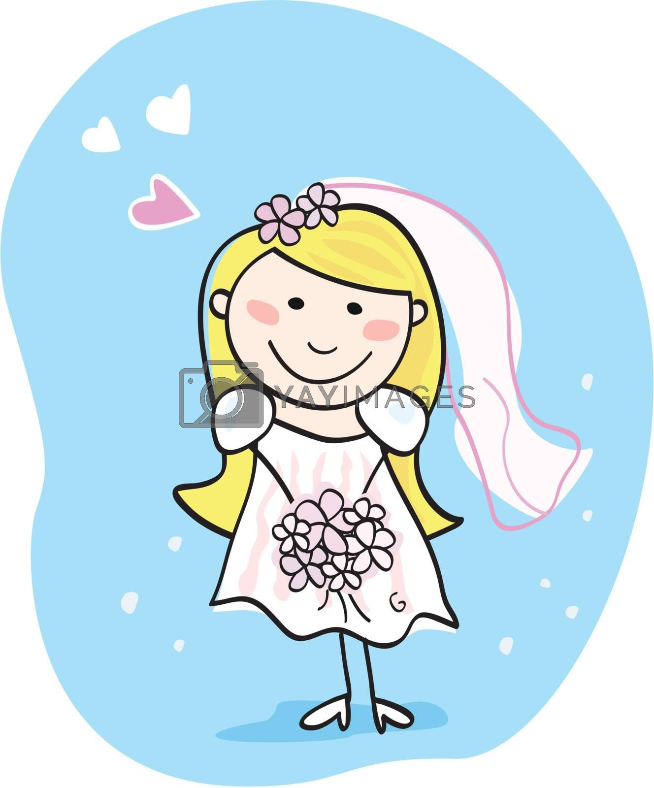 This beautiful bride in white dress is still waiting for the right one. Bride - doodle character. Art vector Illustration.