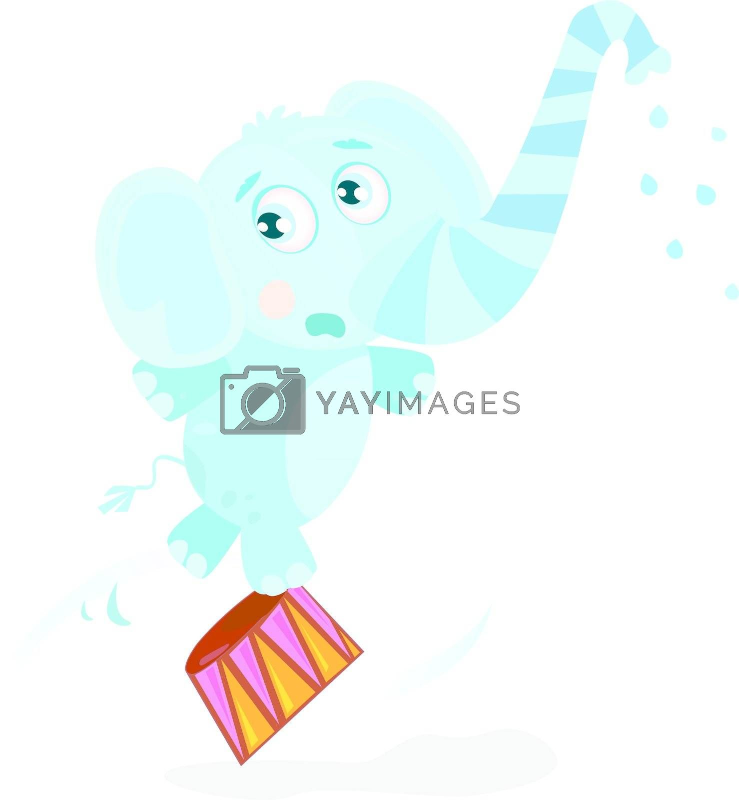 Funny animal is trained on great circus show. Vector Illustration.