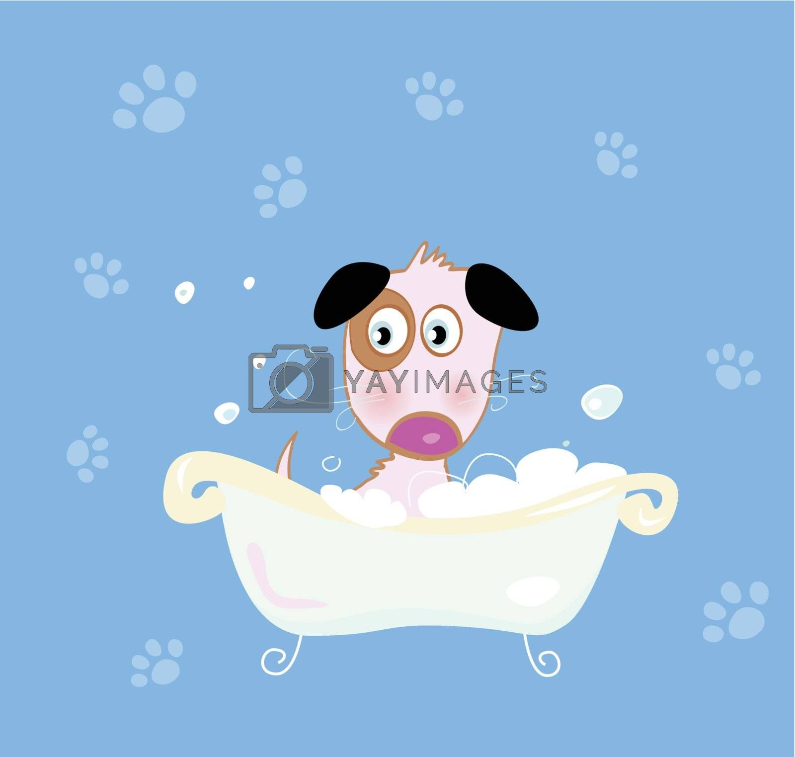 Bathing cute small doggie. VECTOR ILLUSTRATION.