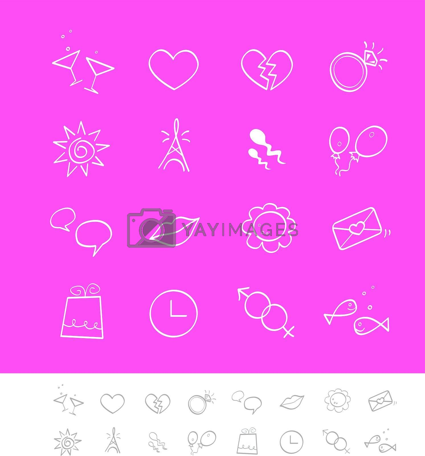 Vector pack for magazines and webpages. Including love, social, dating icons.