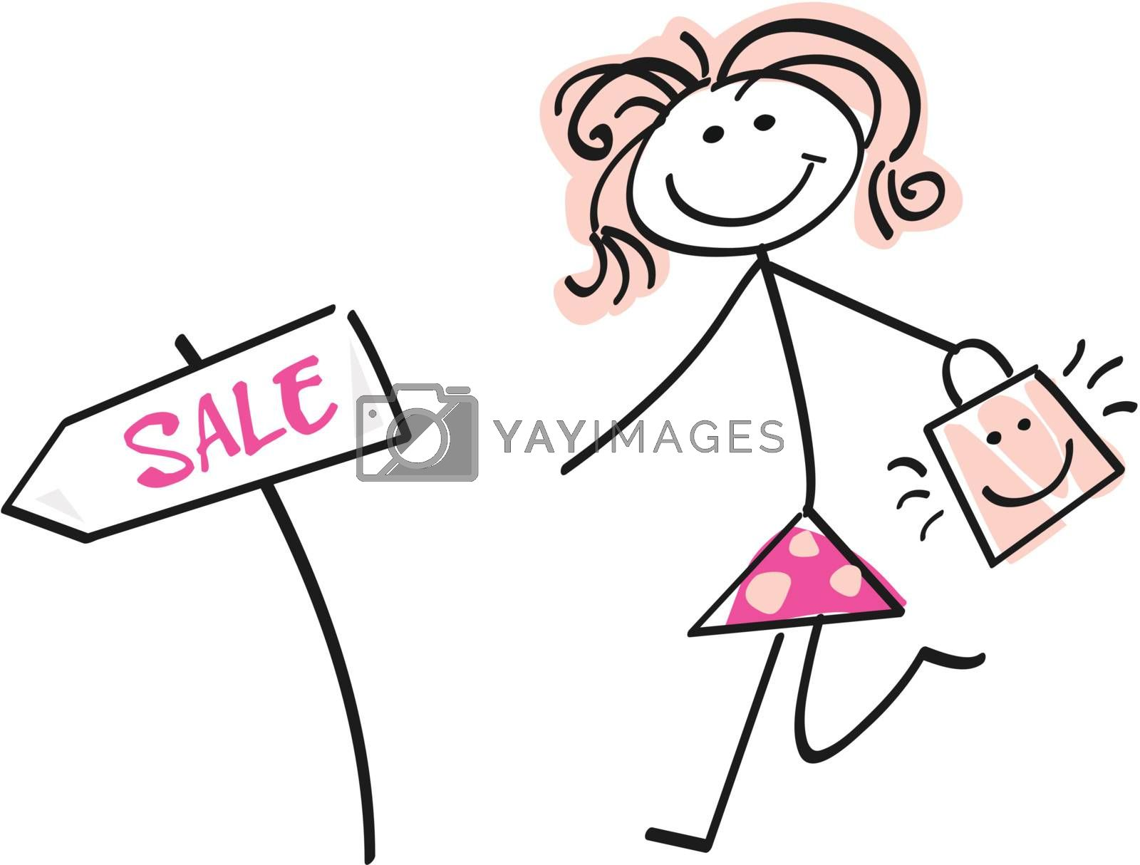 Loving sale! Doodle vector character.